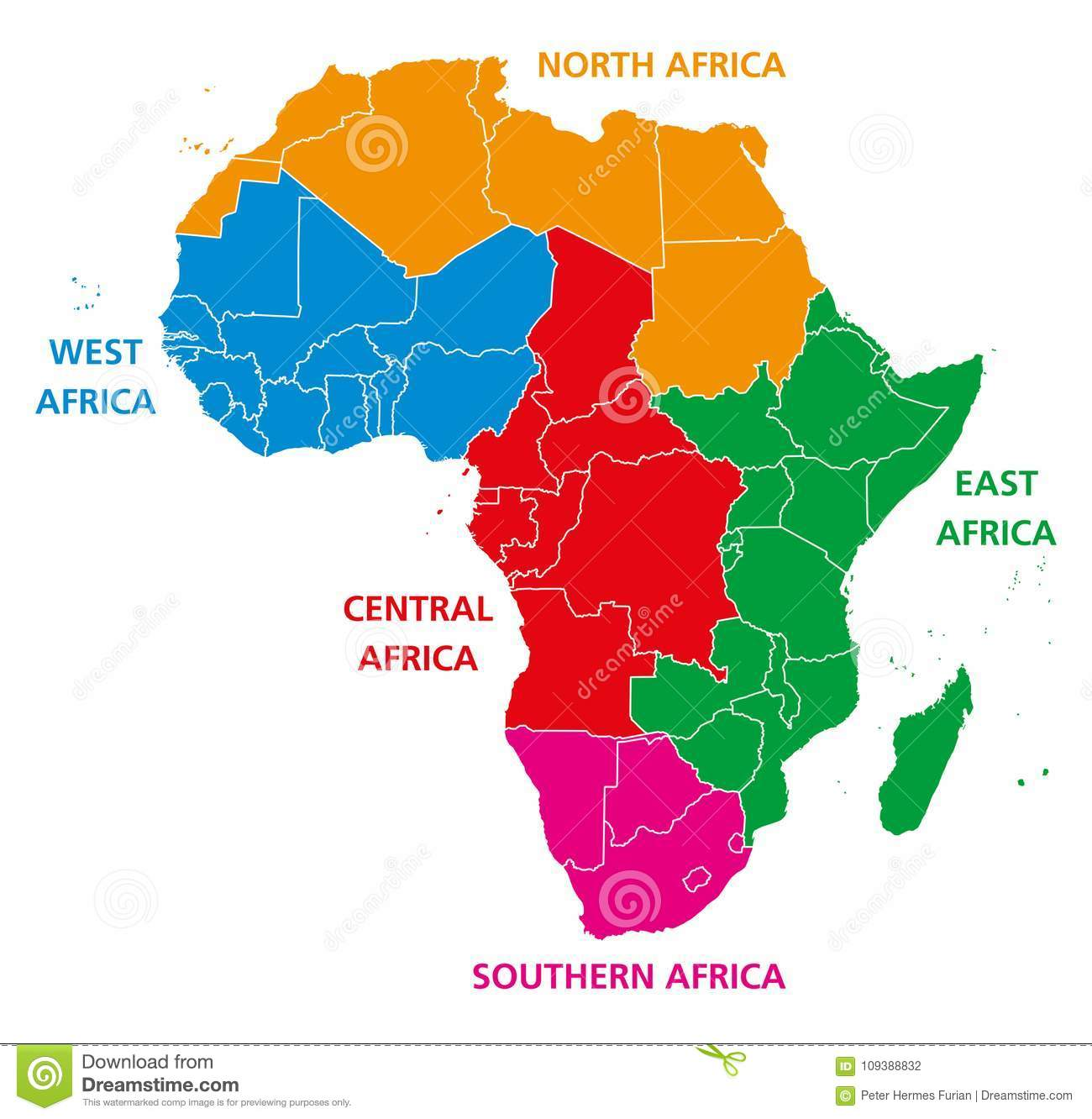 Regions Of Africa Political Map Stock Vector