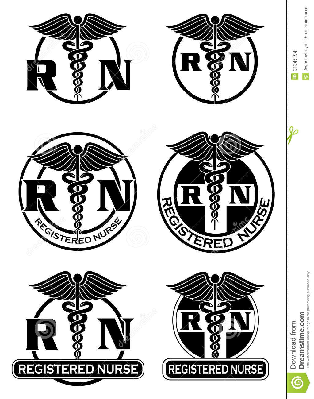 Registered Nurse Designs Graphic Style Stock Images