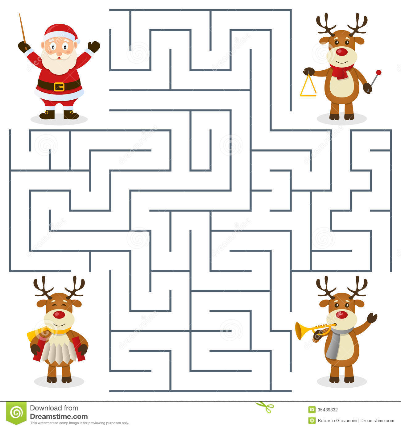 Reindeer Orchestra Maze For Kids Stock Vector