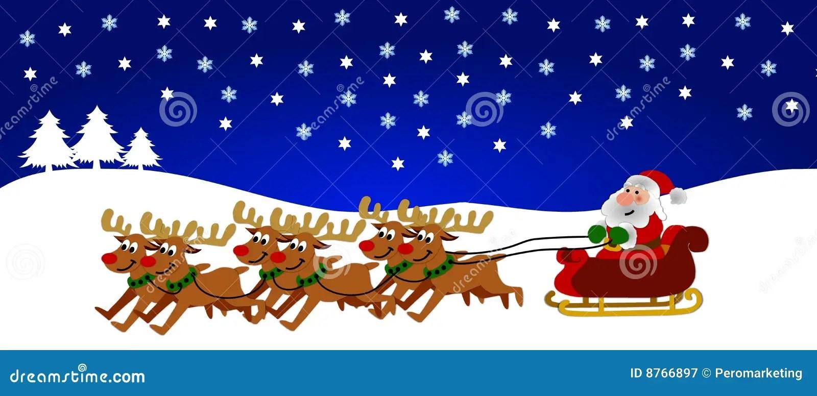 Reindeer Pulling Santa Royalty Free Stock Photography
