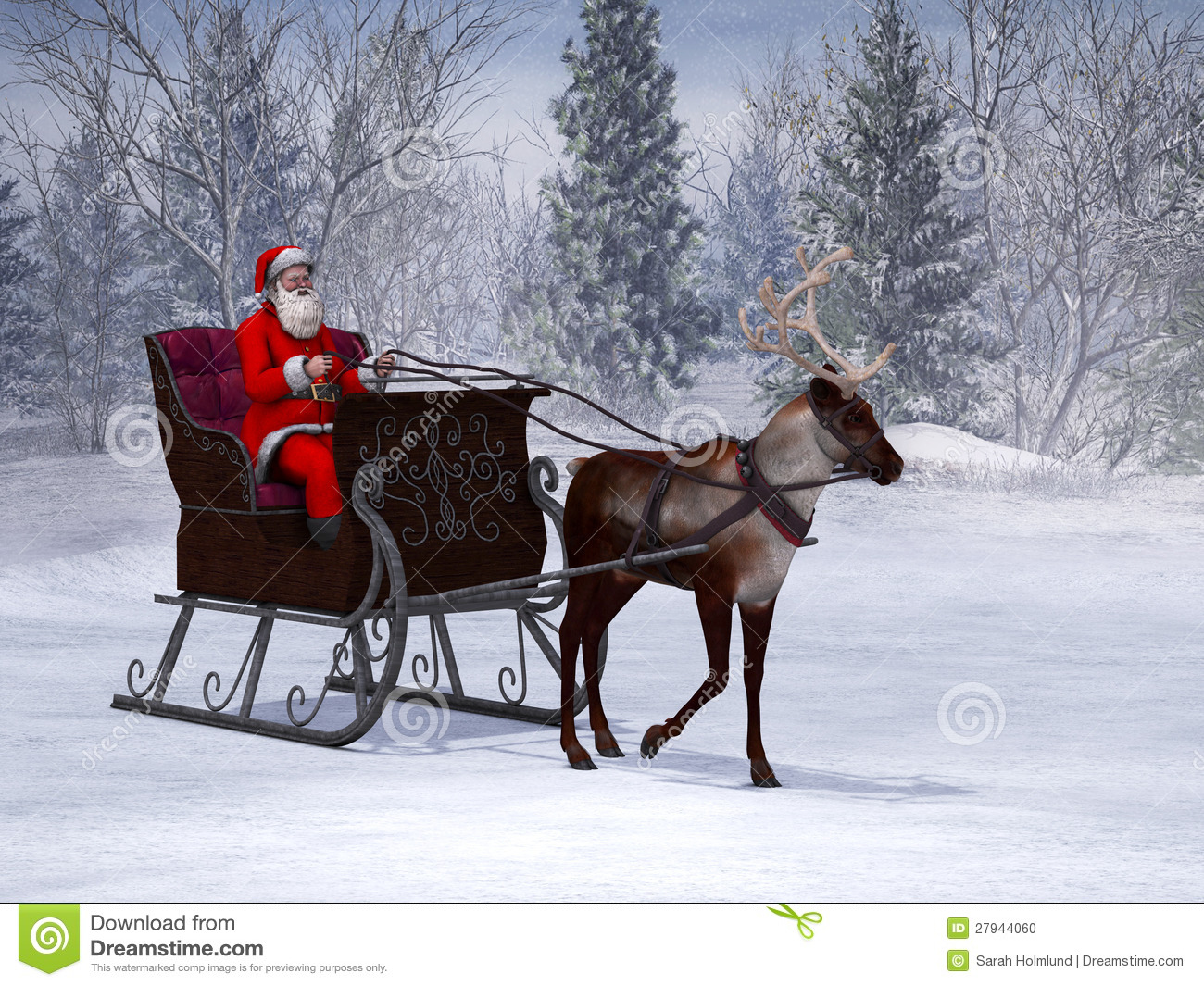 Reindeer Pulling A Sleigh With Santa Claus Stock
