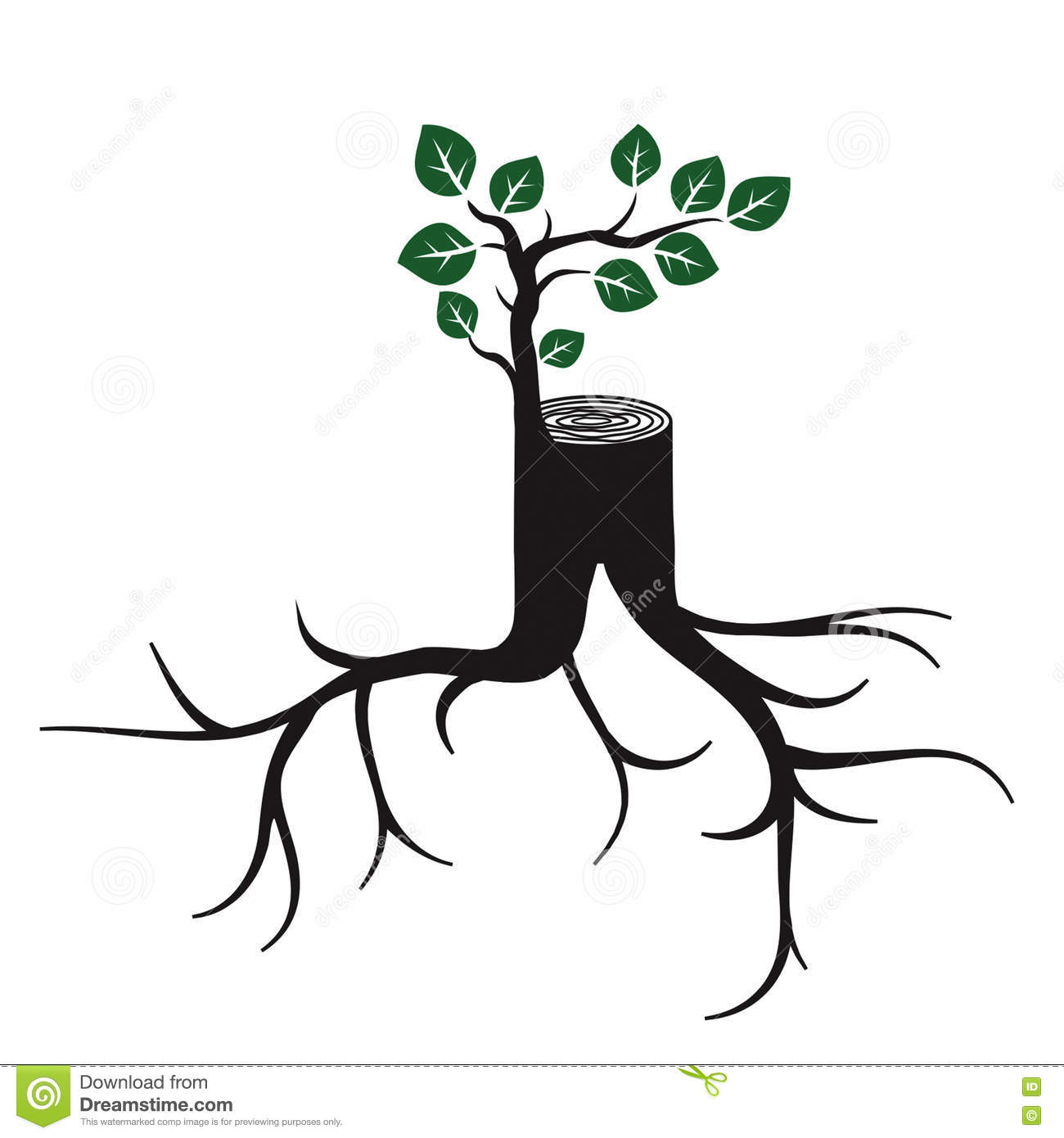 Rejuvenate Tree Trunk And Sprout Stock Photo