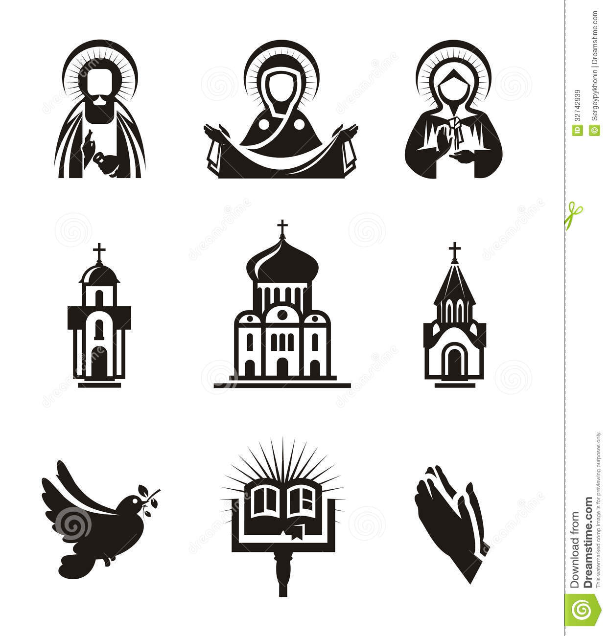 Religion Icons Stock Vector Illustration Of Beautiful
