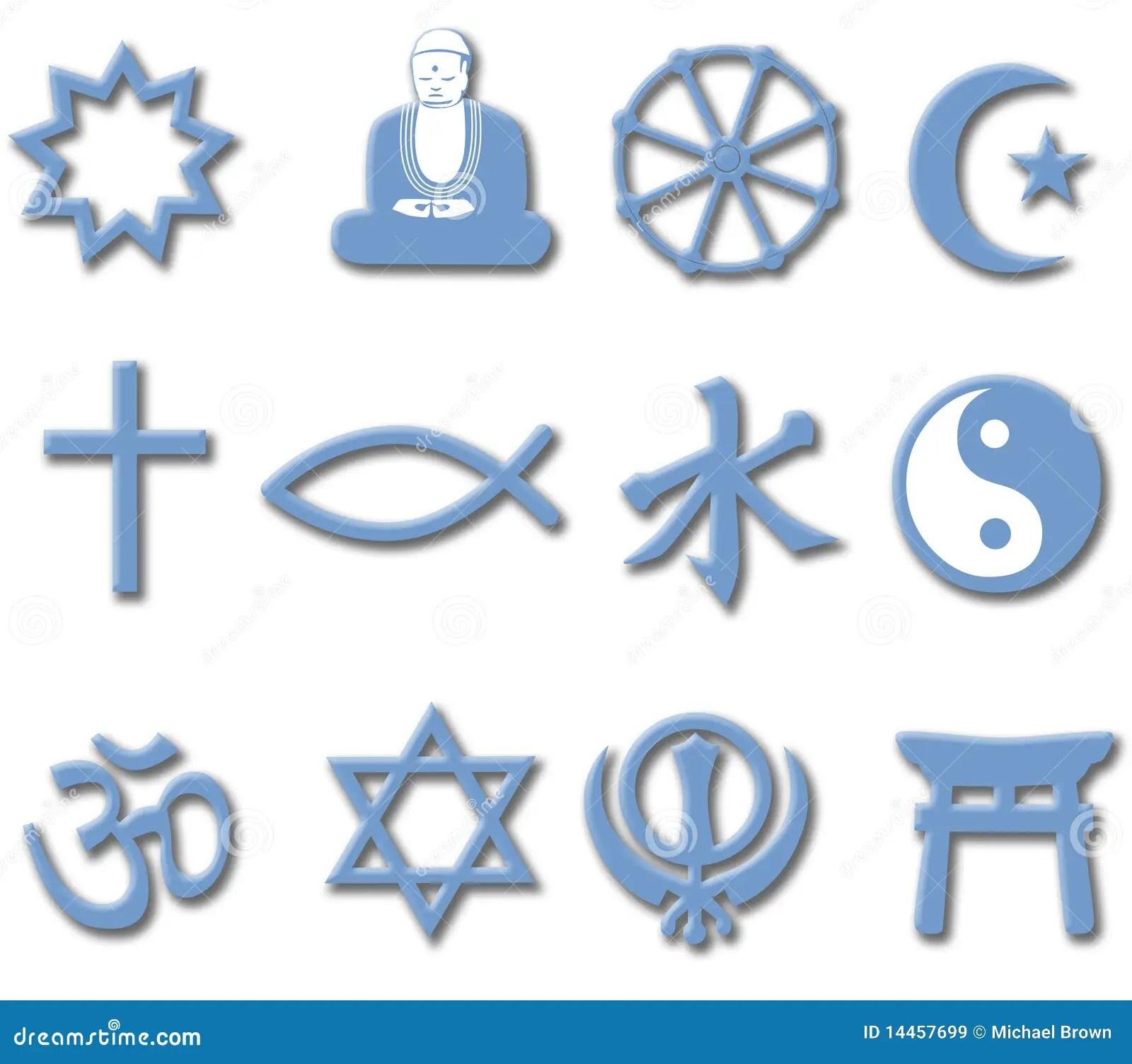 Religion Symbol Set 3d Major World Religions Stock