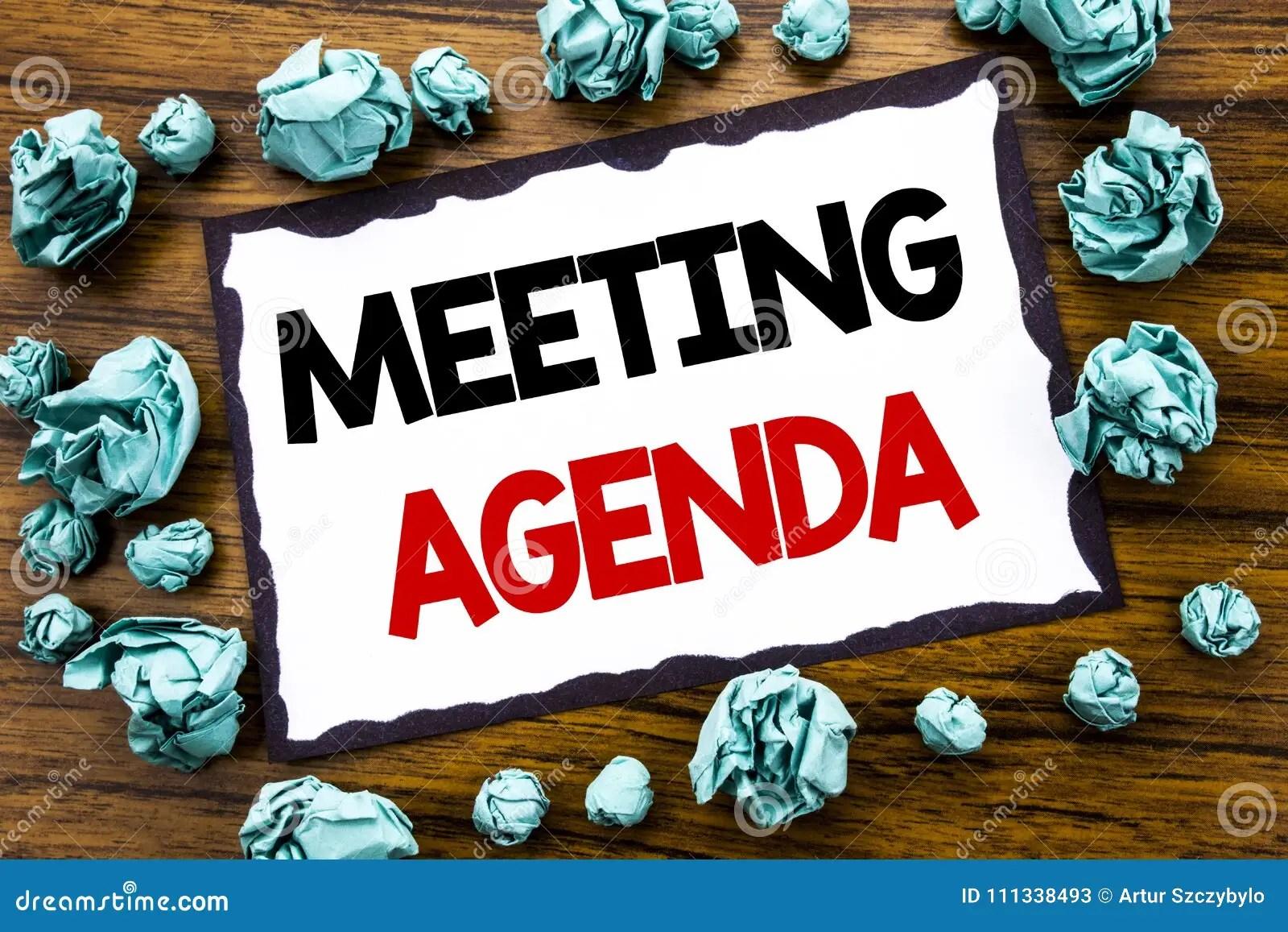 remettez l inspiration de legende des textes d ecriture montrant l ordre du jour de reunion le concept d affaires pour le plan de programme d affaires ecrit