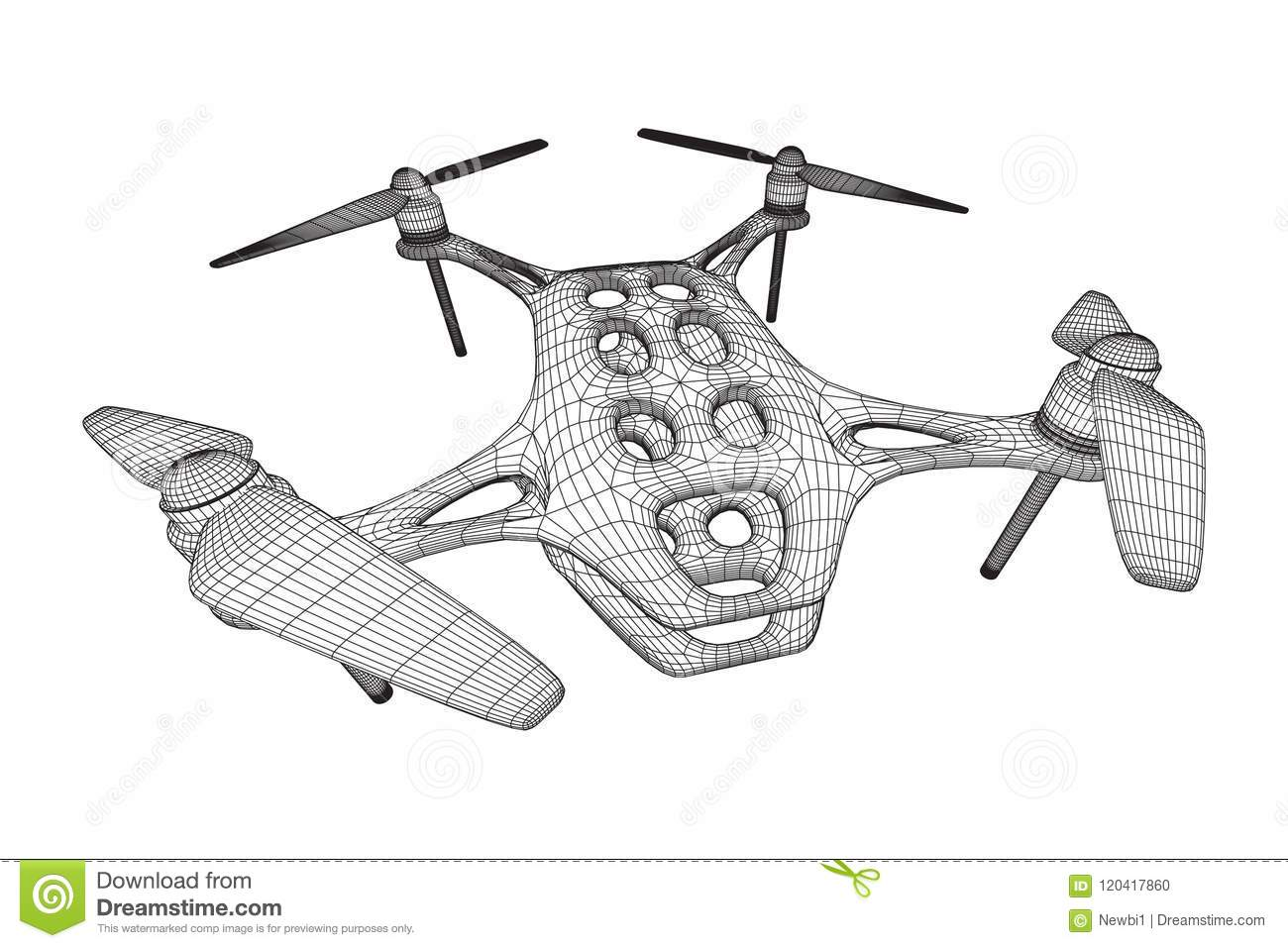 Remote Control Air Drone Stock Vector Illustration Of
