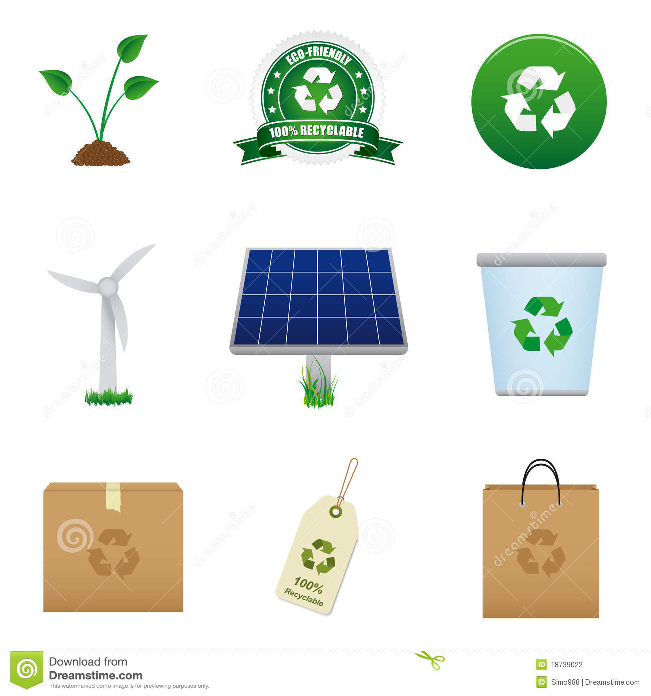 Renewable Energy And Recycle Icon Stock Vector