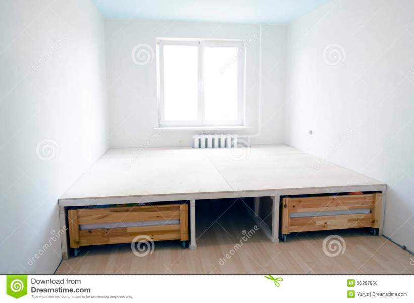 Renovation interior stock photo  Image of clean  room   36267950 Empty clean small room interior under renovation with upper floor structure