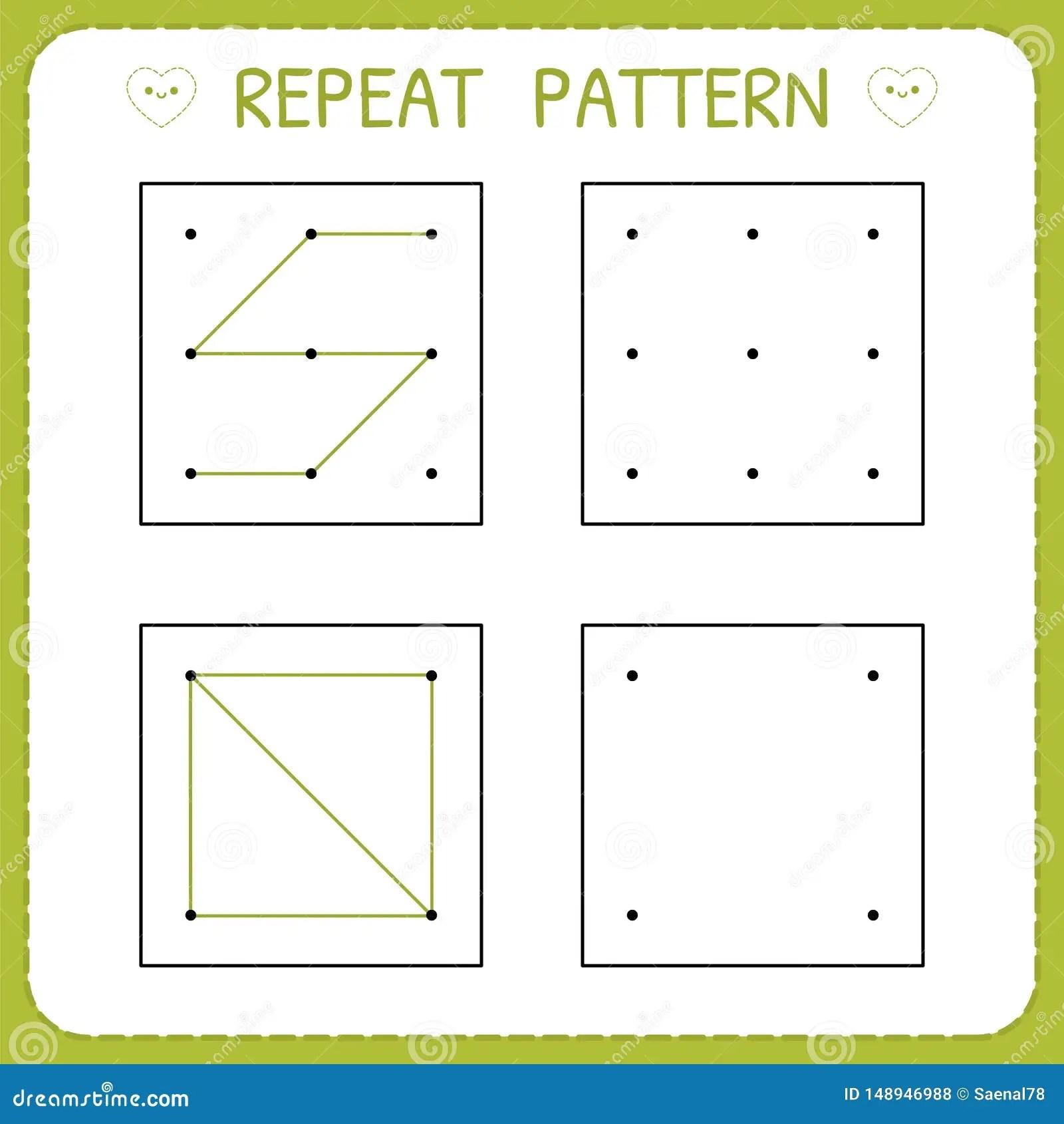 Repeat Pattern Preschool Worksheet For Practicing Motor