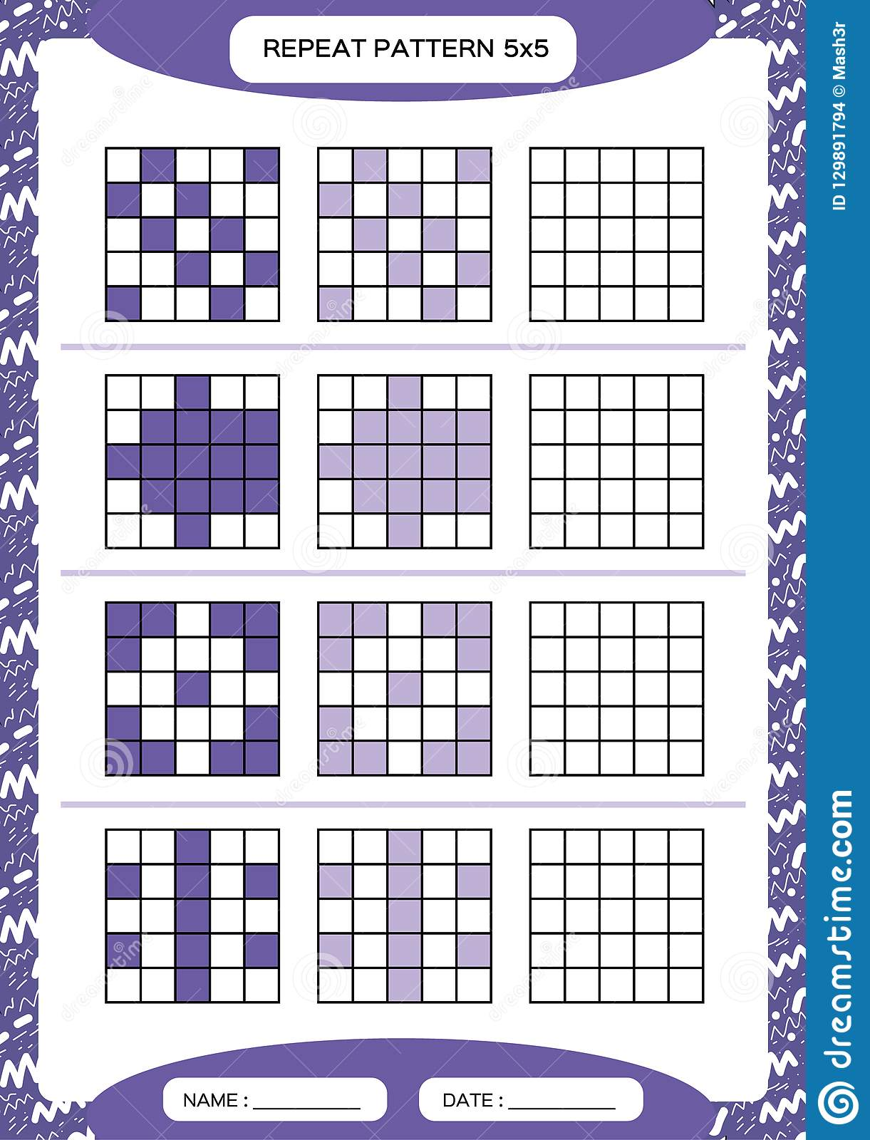 Repeat Purple Pattern Cube Grid With Squares Special For