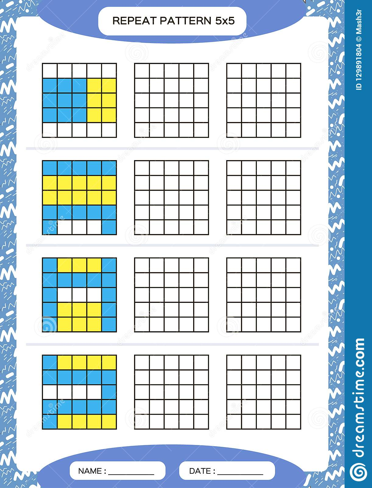 Repeat Yellow Blue Pattern Cube Grid With Squares