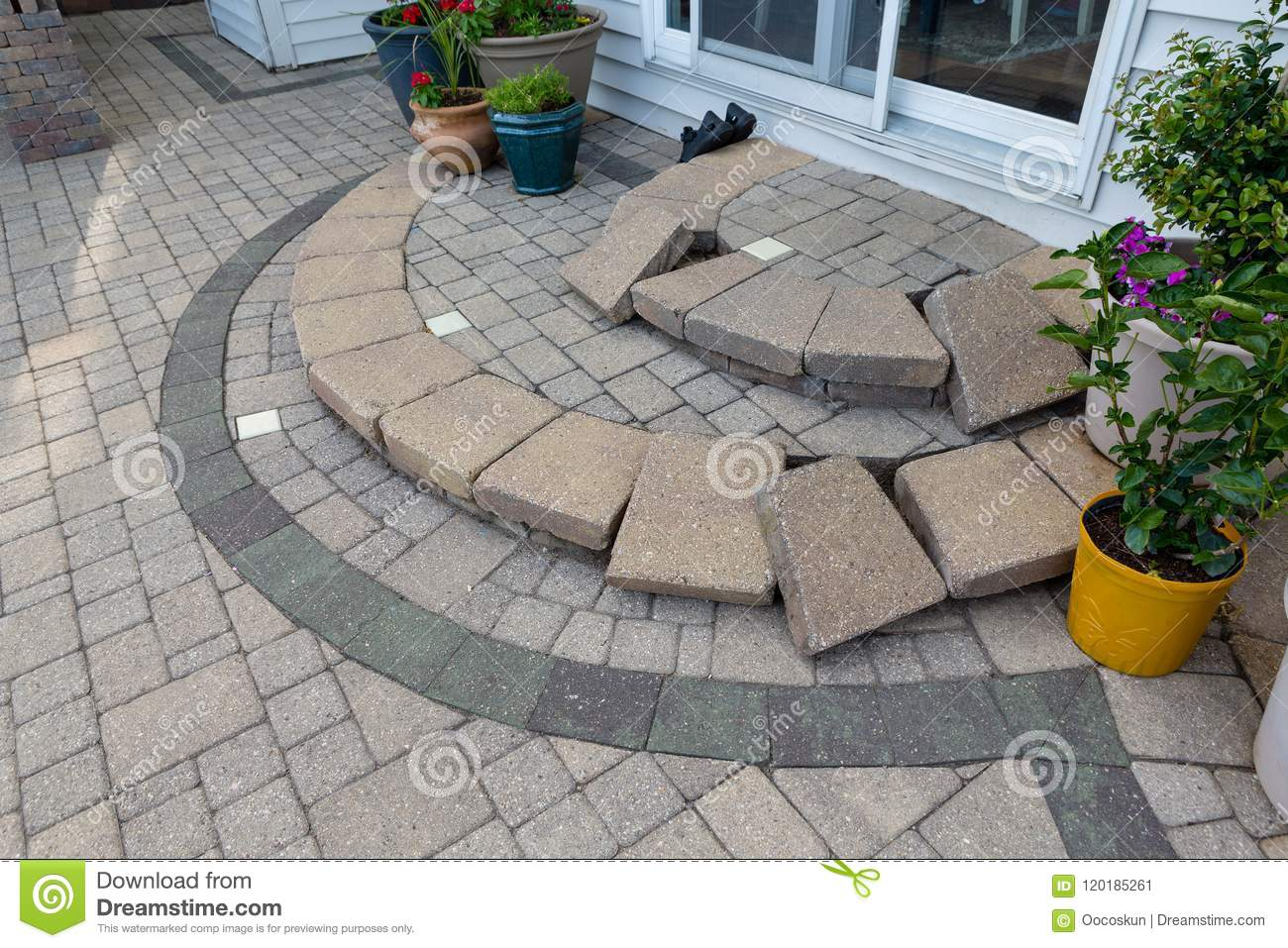 https www dreamstime com replacing paving edging bricks patio steps replacing paving edging bricks curved patio steps front door to image120185261