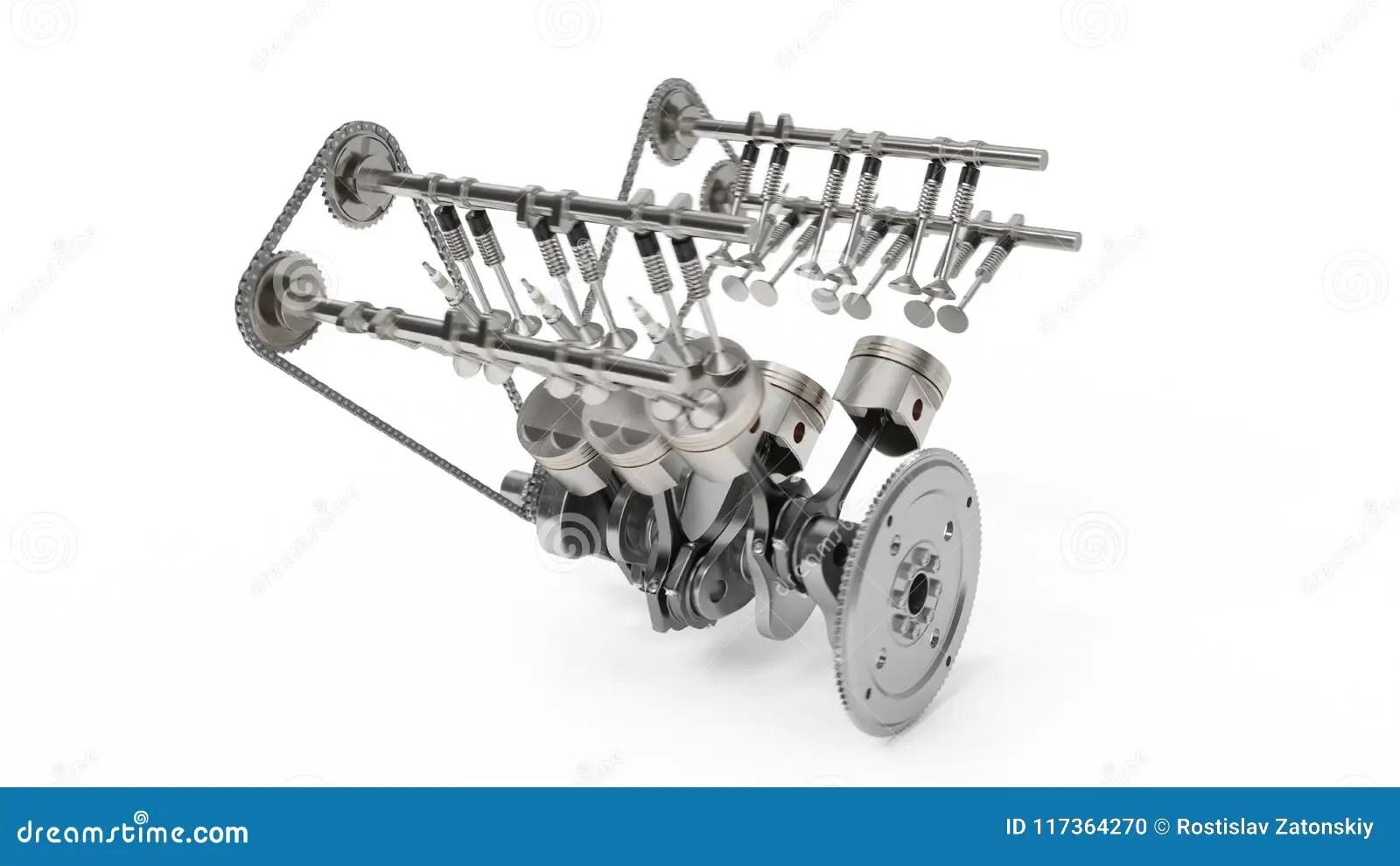 Representacion 3d De Un Motor De Combustion Interna Piezas