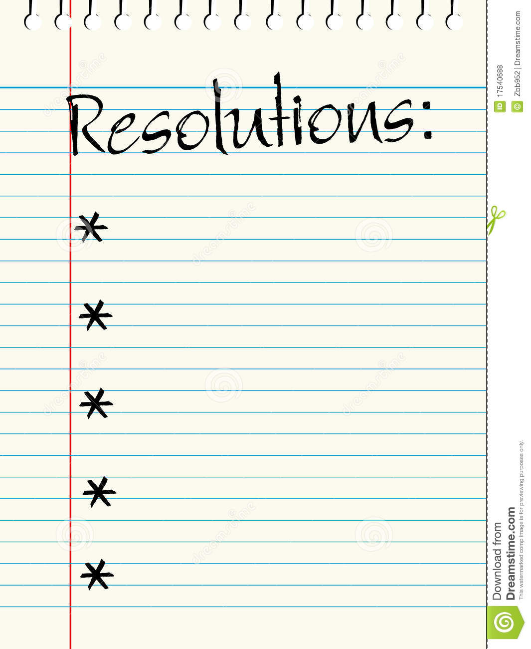 Resolutions List Stock Vector Illustration Of Lined