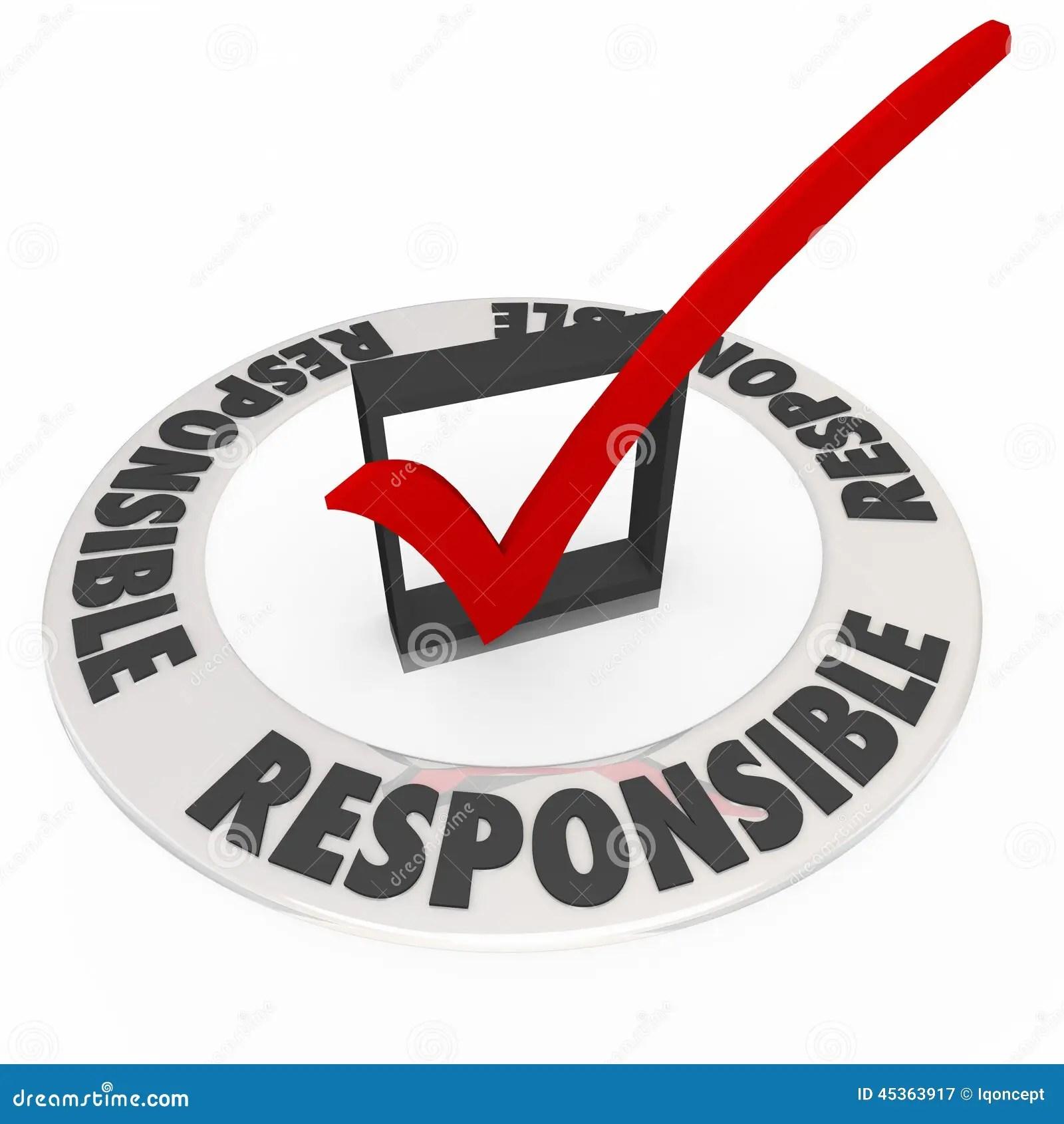 Responsible Word Around Check Mark Box Accountable Stock