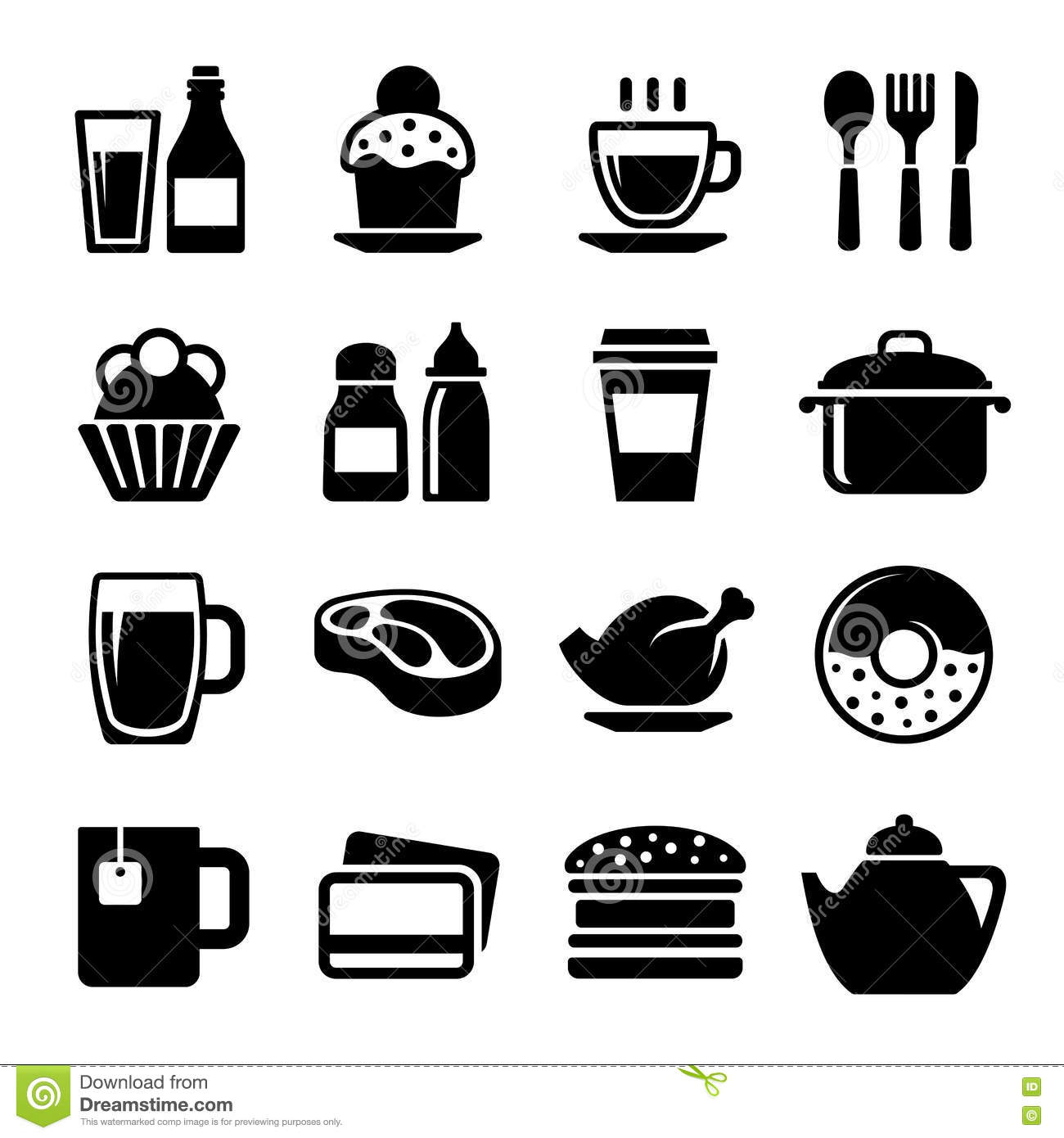 Restaurant And Cafe Food Drink Icon Set Vector Stock