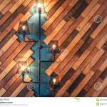 Restaurant With Rustic Decorative Elements Interior Design Details With Lamps And Bulb Lights Wooden Wall Decoration Stock Image Image Of Furniture Electricity 60764695