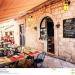 Restaurant Terrace In The Old Town Of Dubrovnik In The Narrow Street Editorial Photography Image Of Historic Famous 53516067
