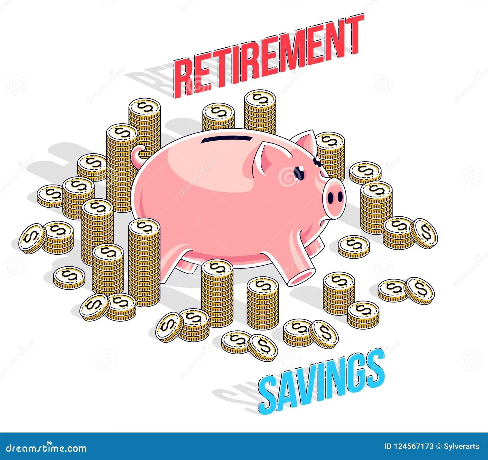Retirement Savings Concept Cute Piggy Bank With Cash
