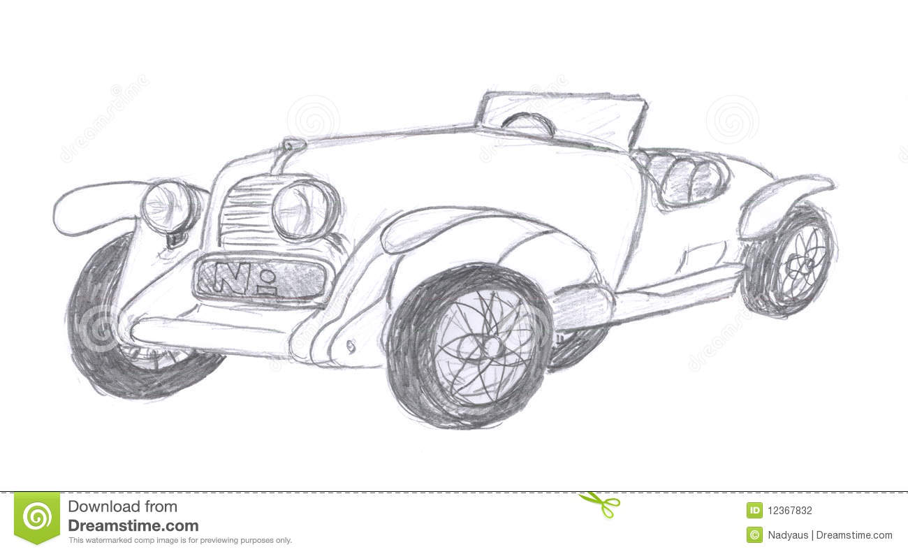 Retro Car Sketch Stock Illustration Illustration Of