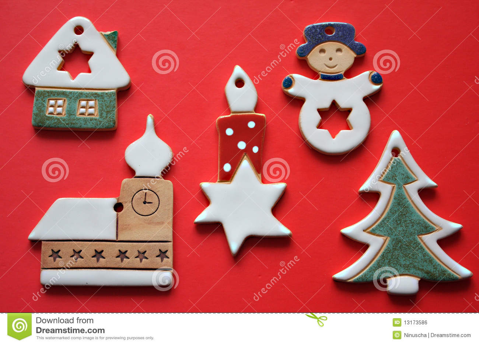 Retro Ceramic Christmas Decorations Royalty Free Stock
