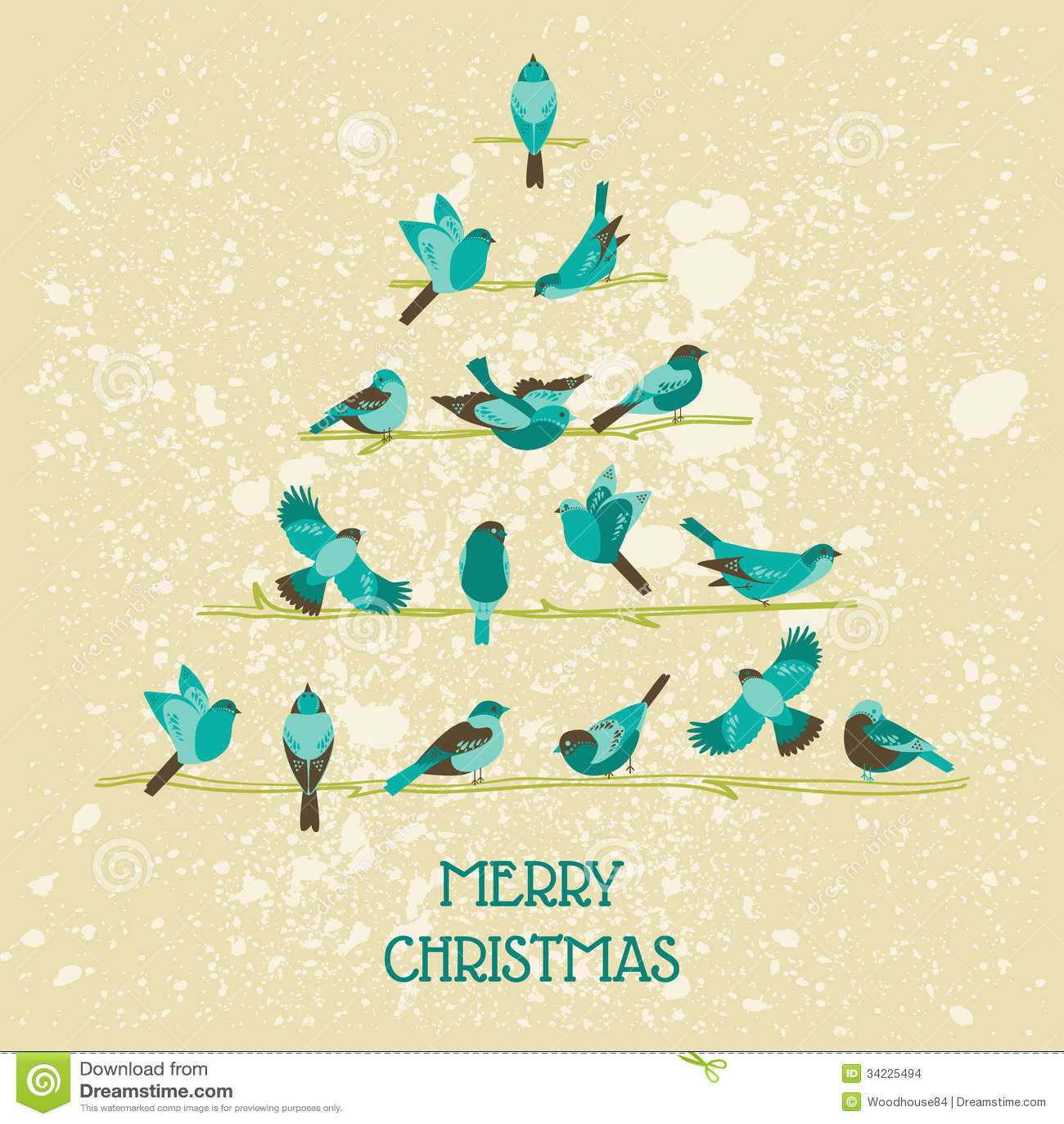Retro Christmas Card Birds On Christmas Tree Stock Photo