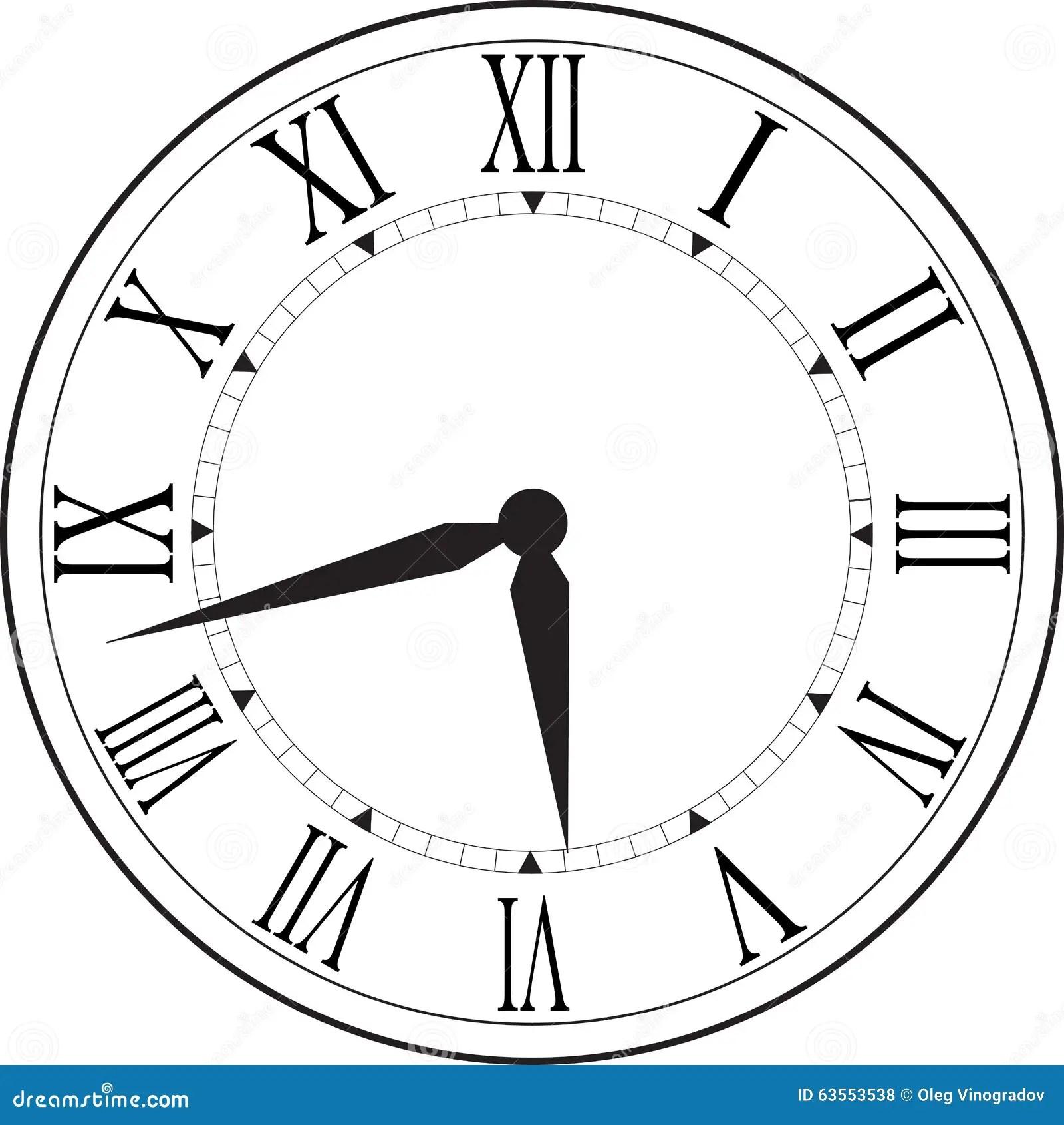 Retro Clock With Roman Dial Stock Photo