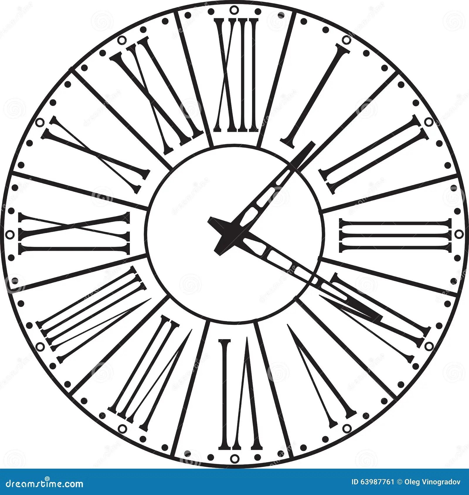 Retro Clock With Roman Dial Stock Vector