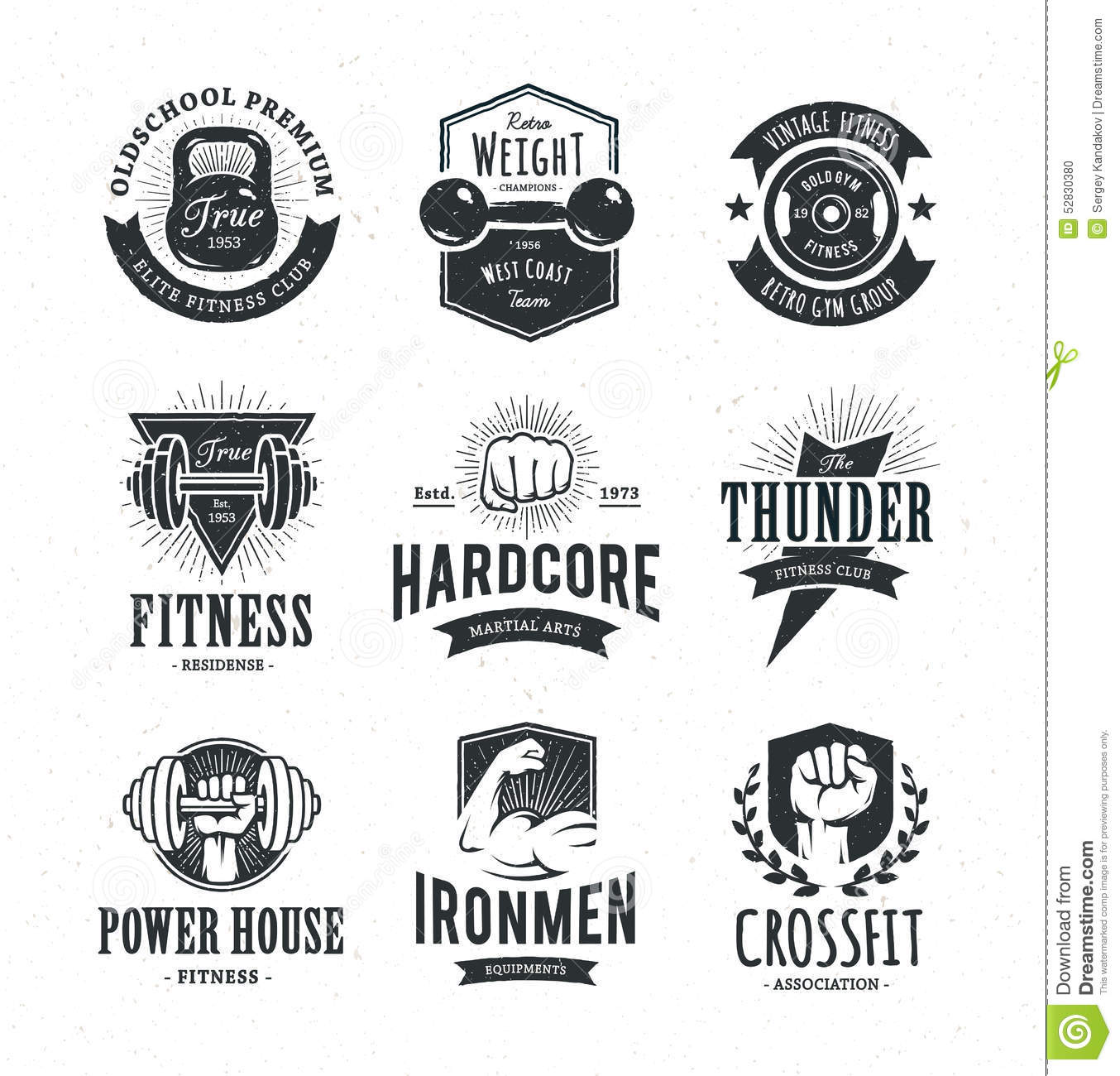 Retro Fitness Emblems Stock Vector Illustration Of