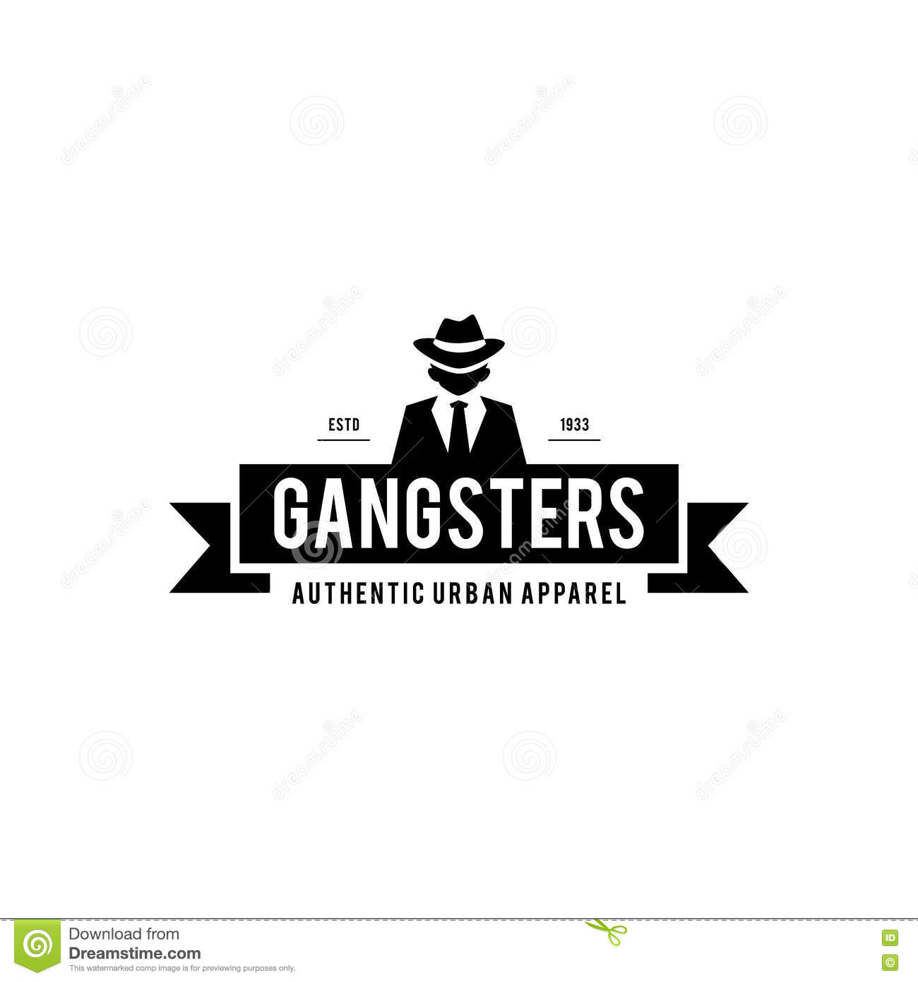 Retro Gangsters And Mafia Themed Man In Black Suit