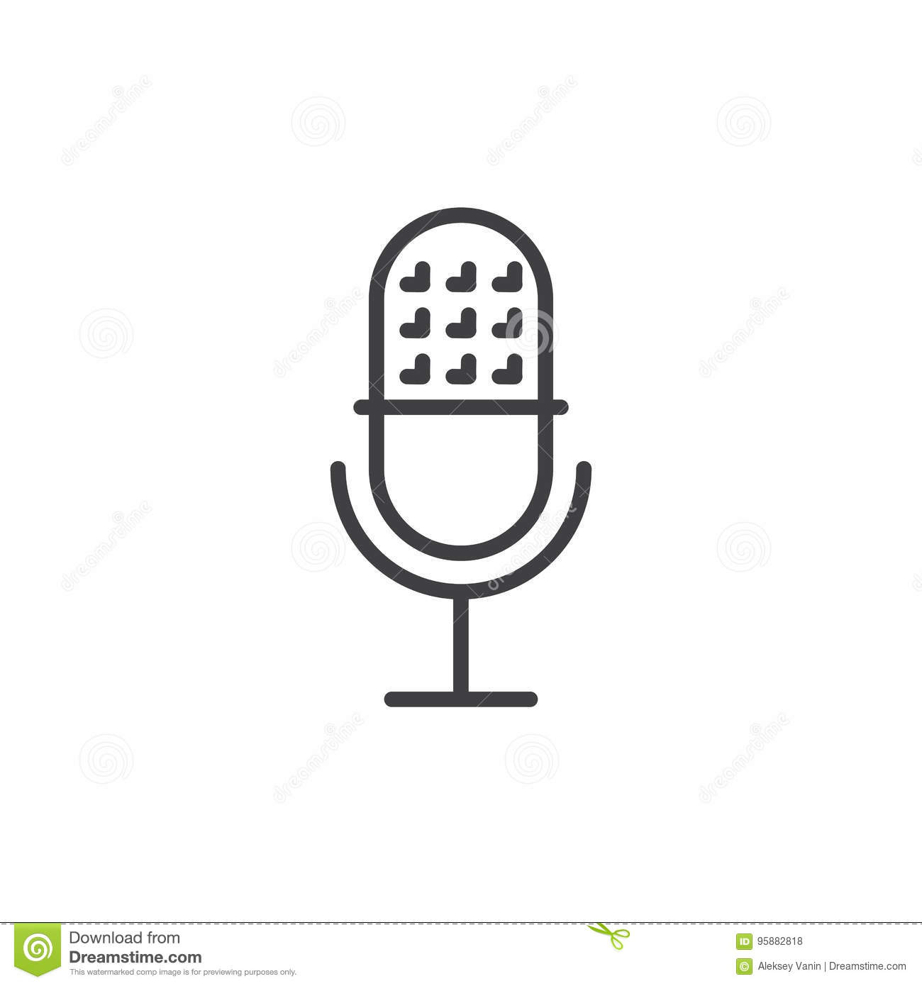 Vintage Classic Microphone Icon Flat Style Vector