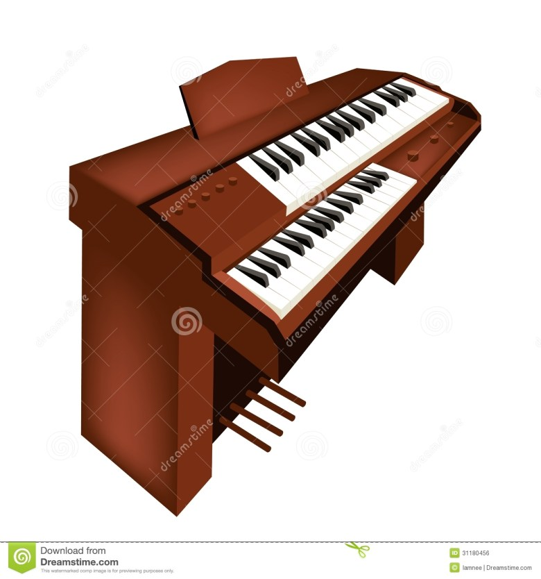a retro pipe organ isolated on white background stock vector