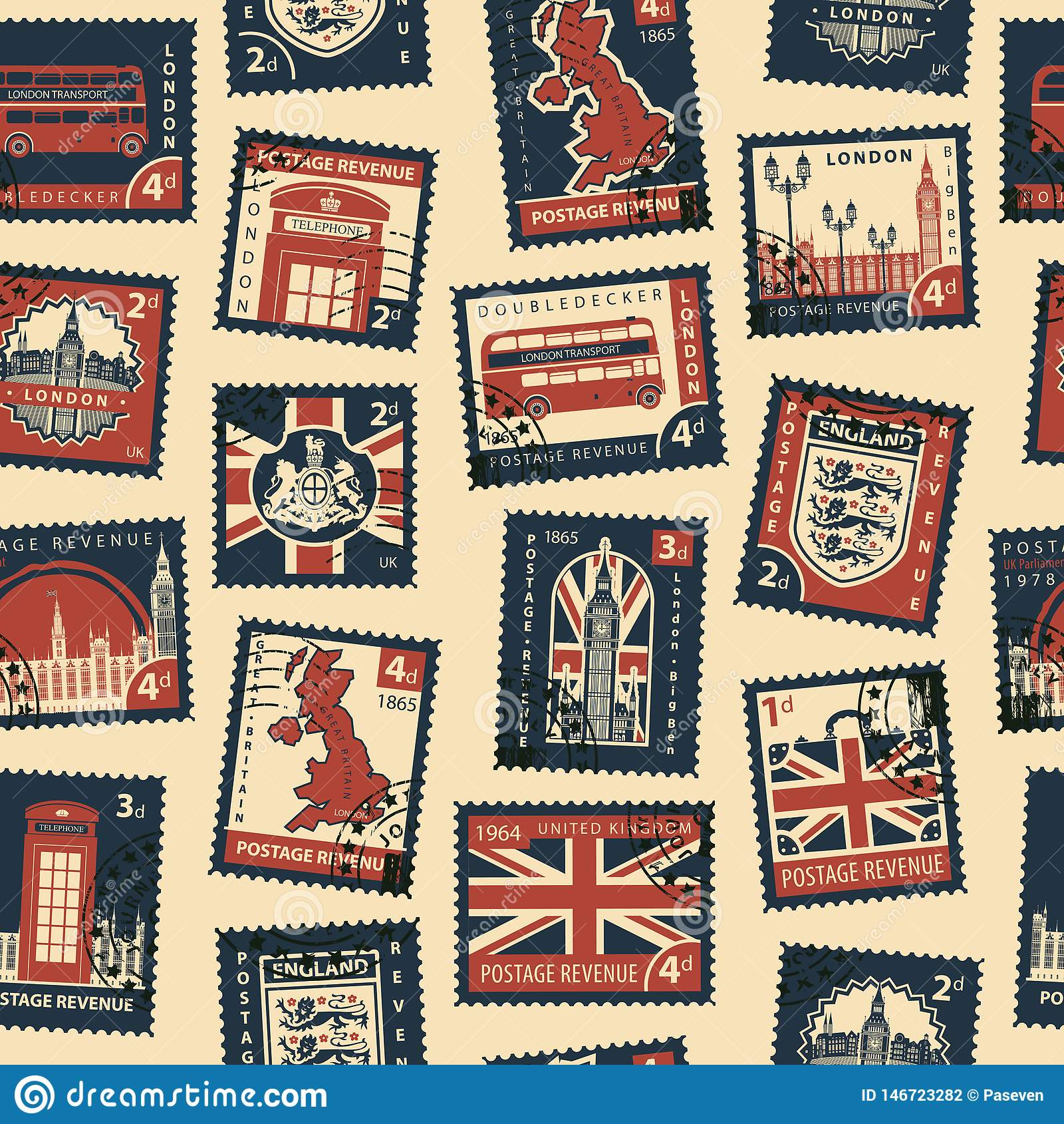 Seamless Pattern With Postage Stamps On Uk Theme Stock