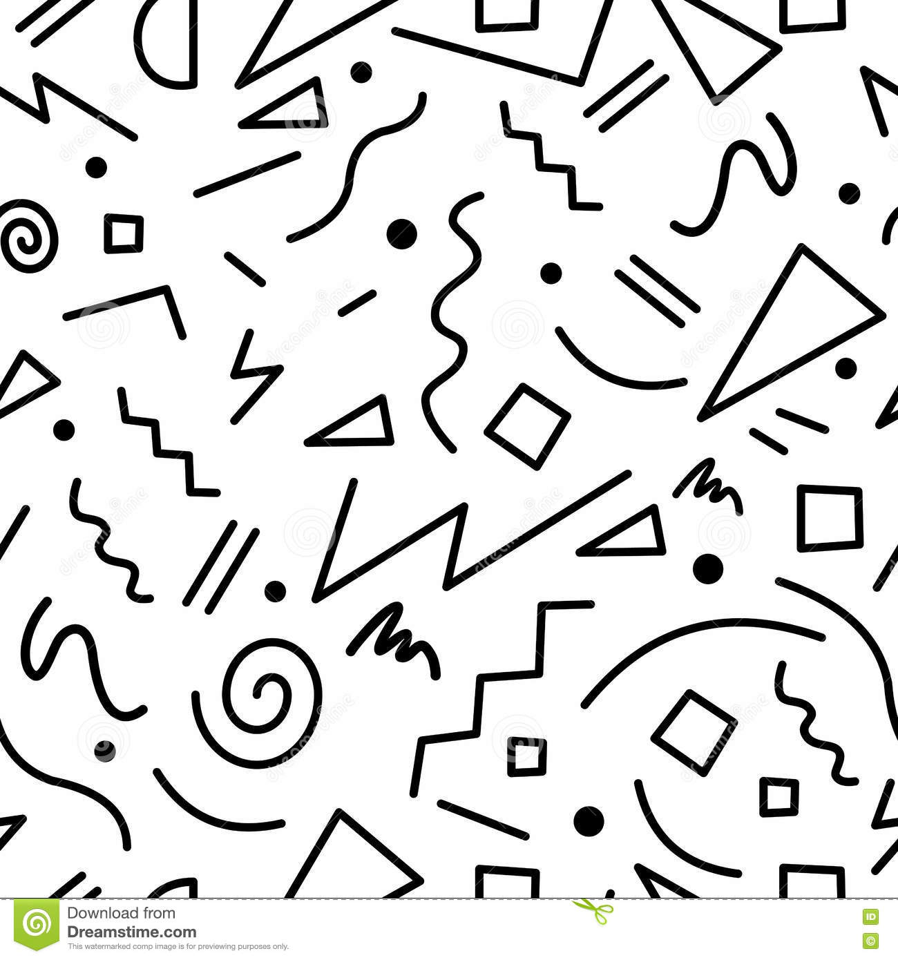 Retro 80s Seamless Pattern In Black And White Stock Vector
