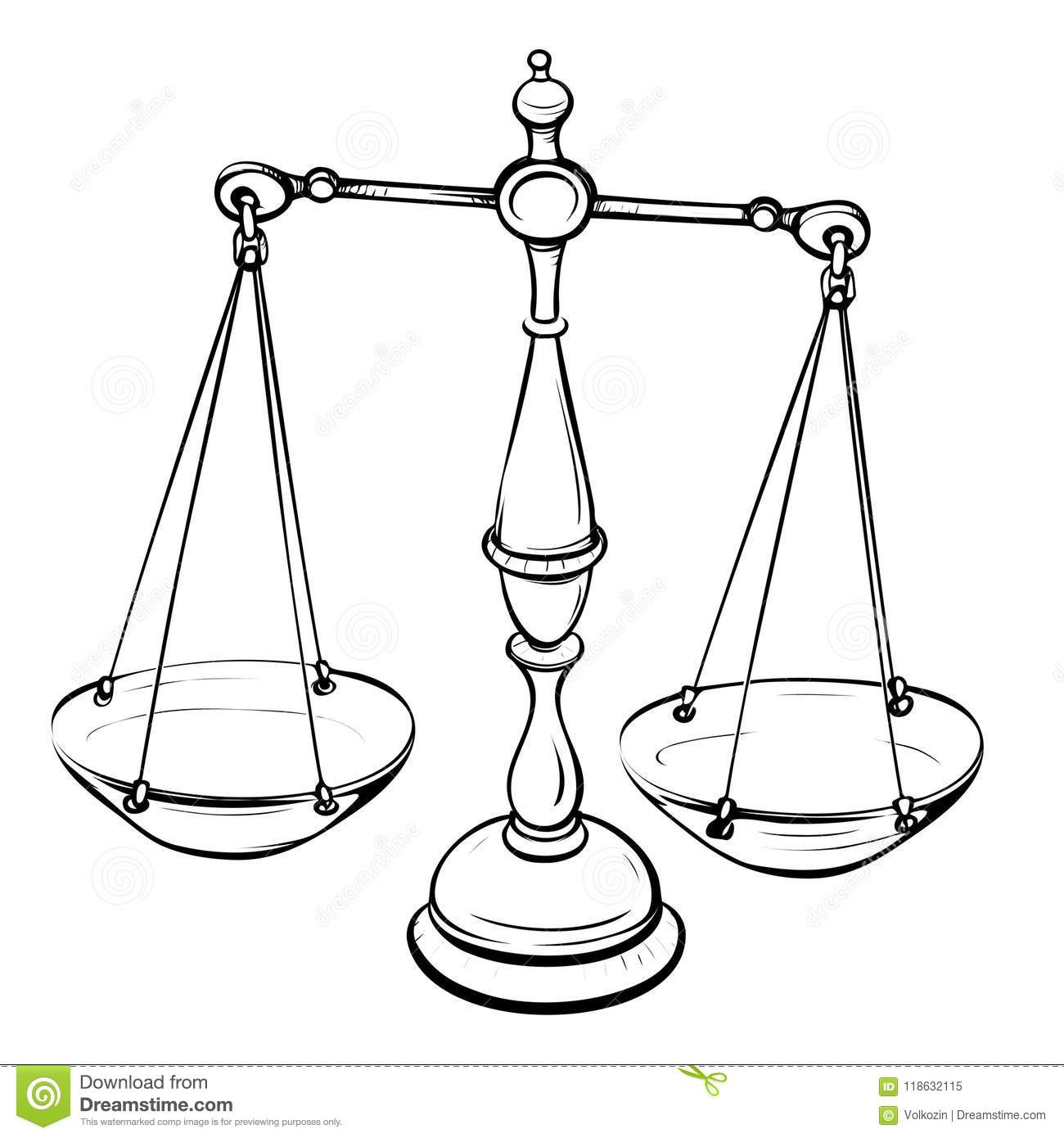 Balance Scale Clipart Etc Sketch Coloring Page