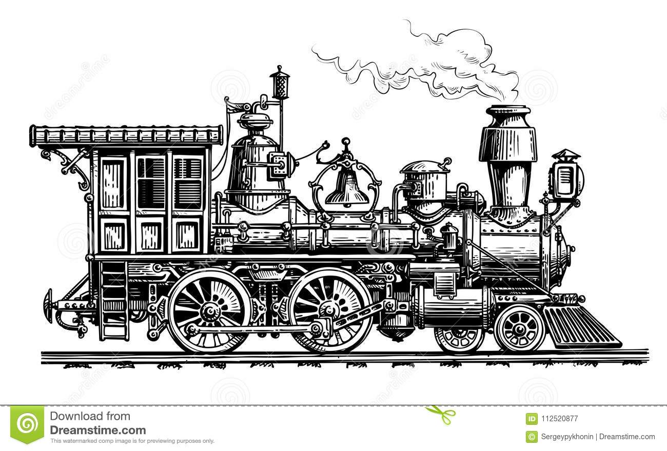 Retro Steam Locomotive Train Vintage Sketch Vector
