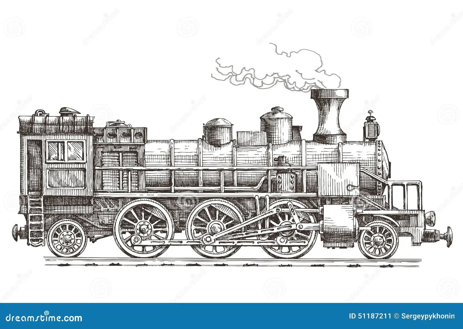 Retro Steam Locomotive Vector Logo Design Template Stock
