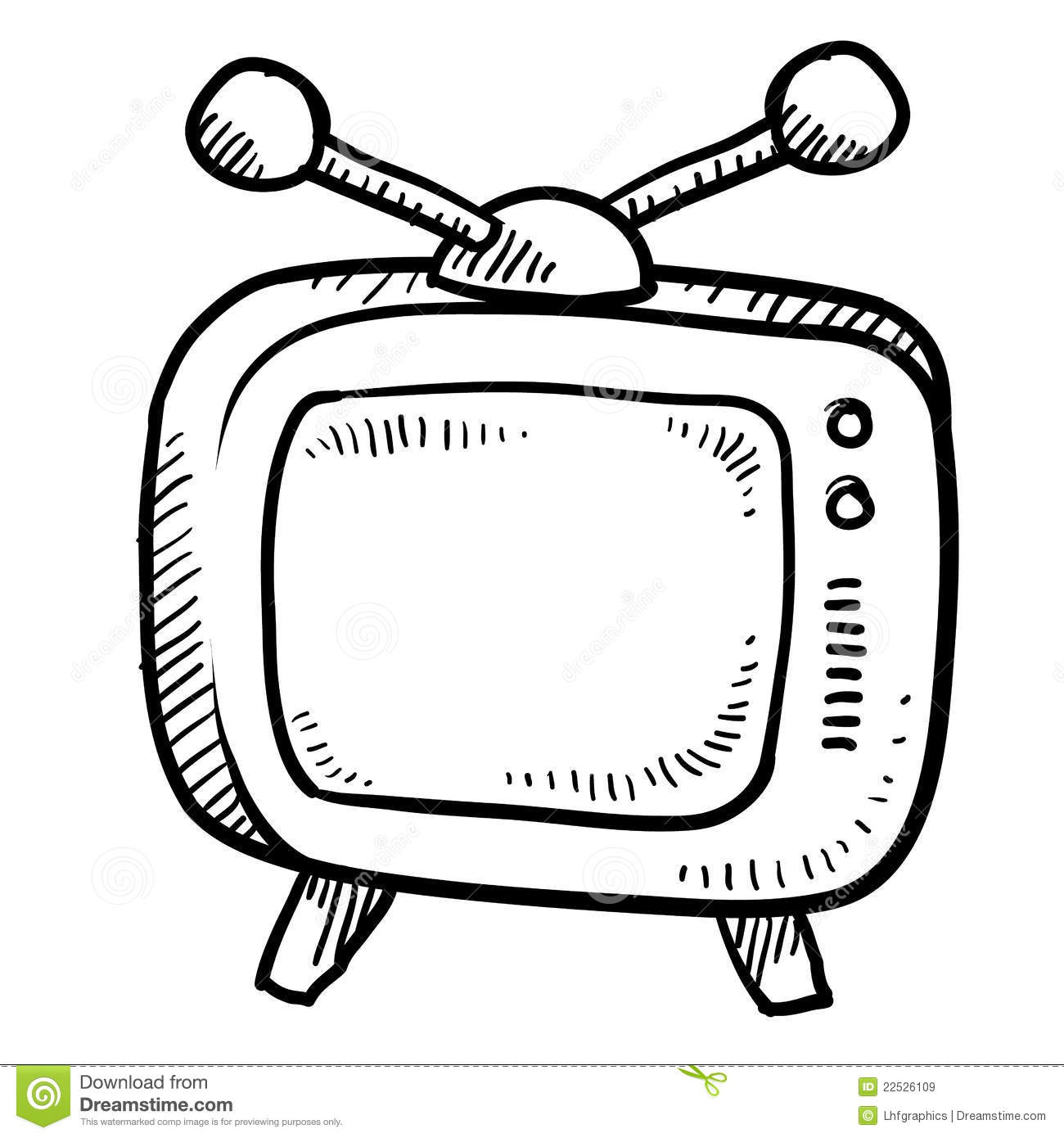 Retro Television Sketch Royalty Free Stock Images