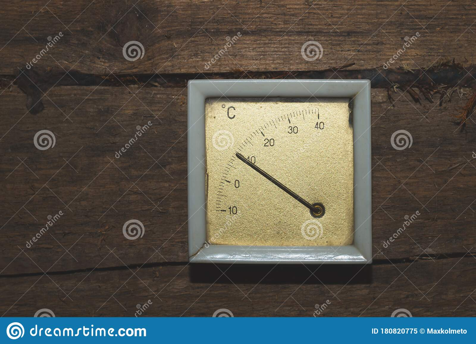 Retro Thermometer Hanging On A Wooden Wall Celsius Scale