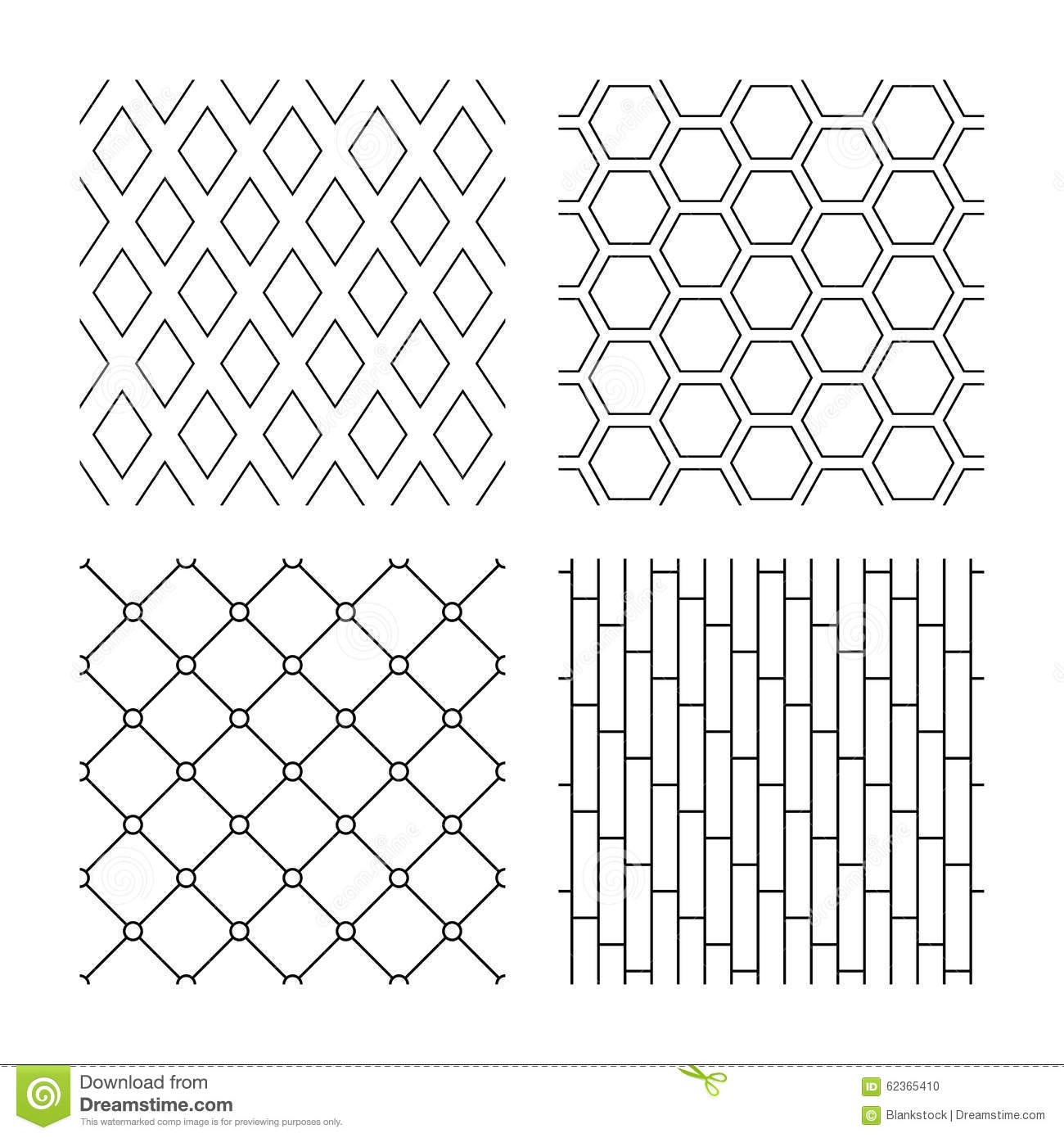 Rhombus Hexagon And Grid With Circles Textures Stock Vector