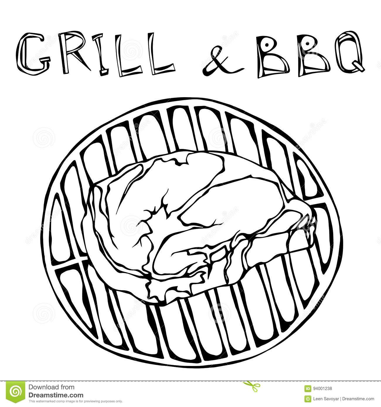 Rib Eye Steak On The Grill For Barbecue Lettering Grill