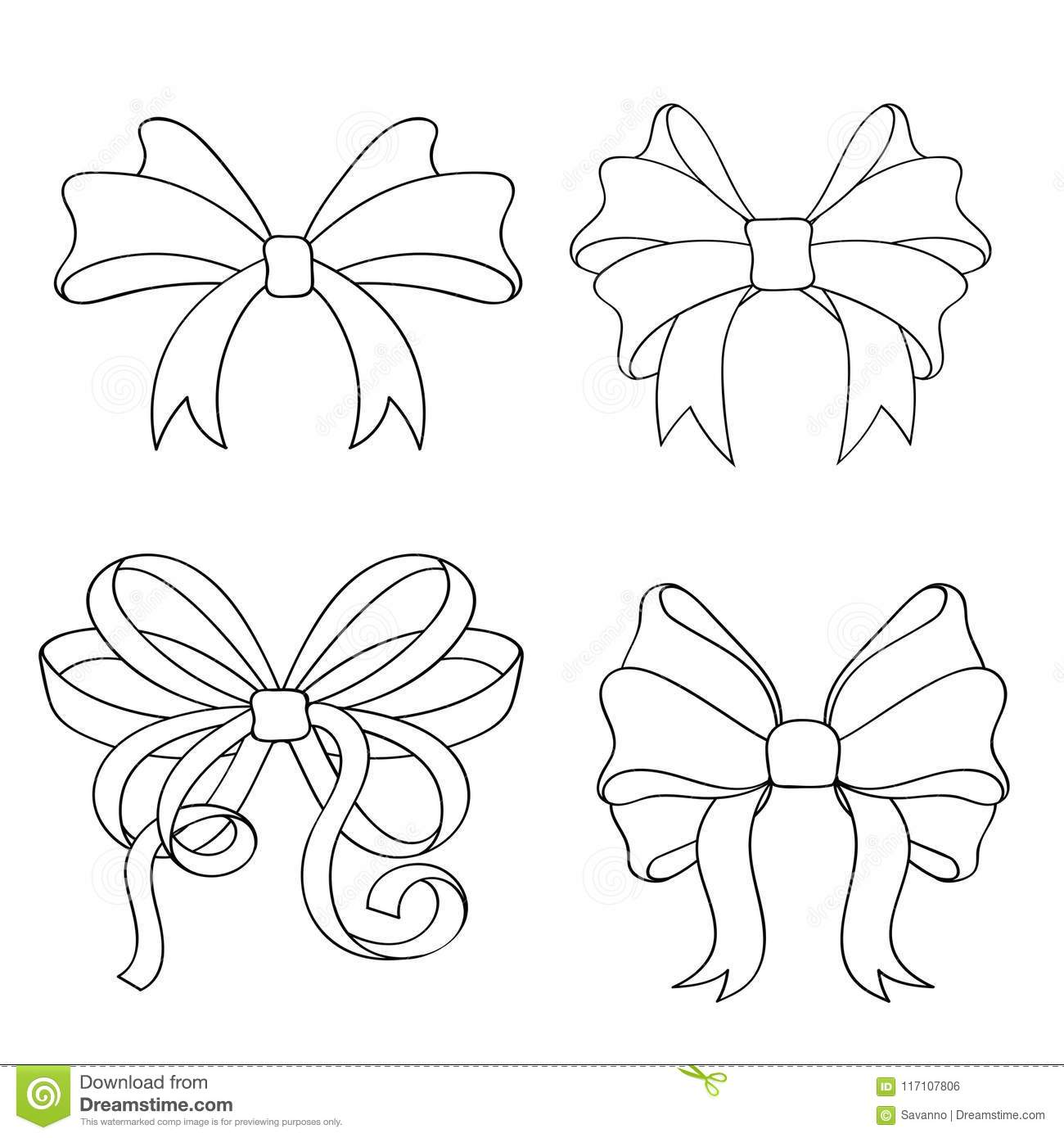 Ribbon Bow Set Outline Drawings Of Ribbon Tied In Knot