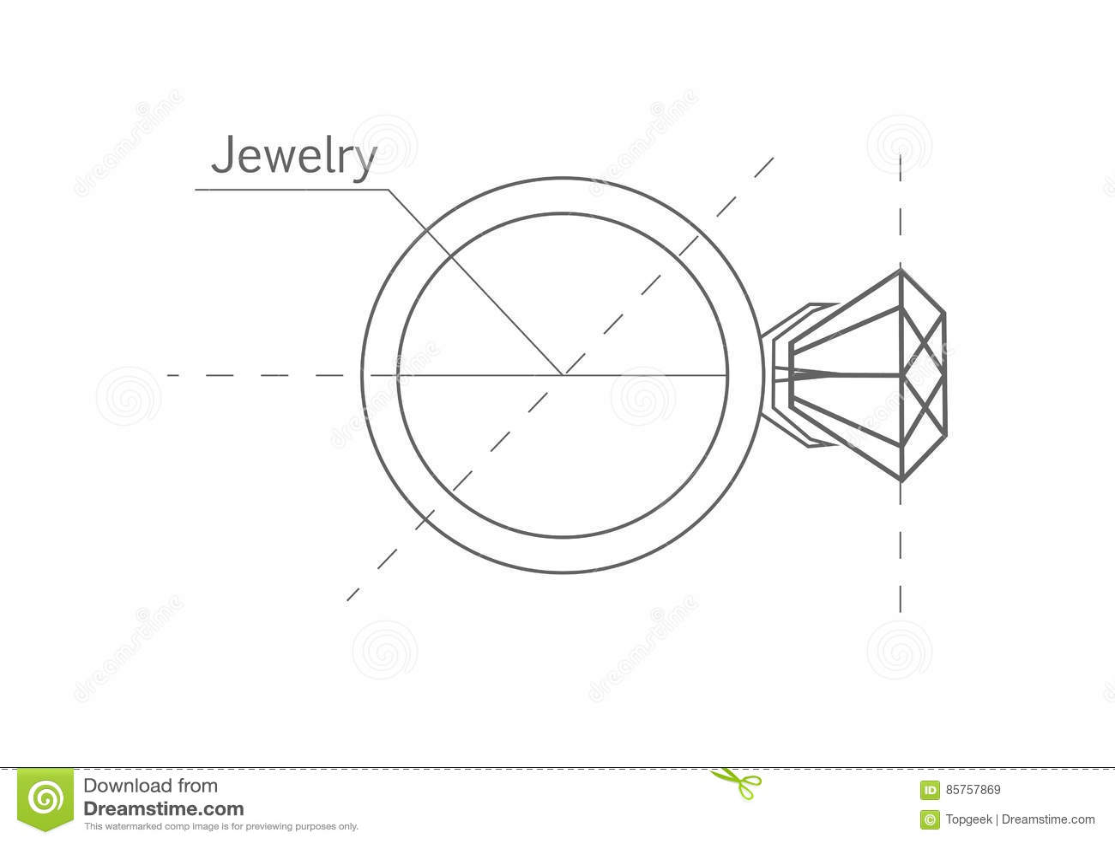 Ring With Diamond Graphic Scheme Stock Vector