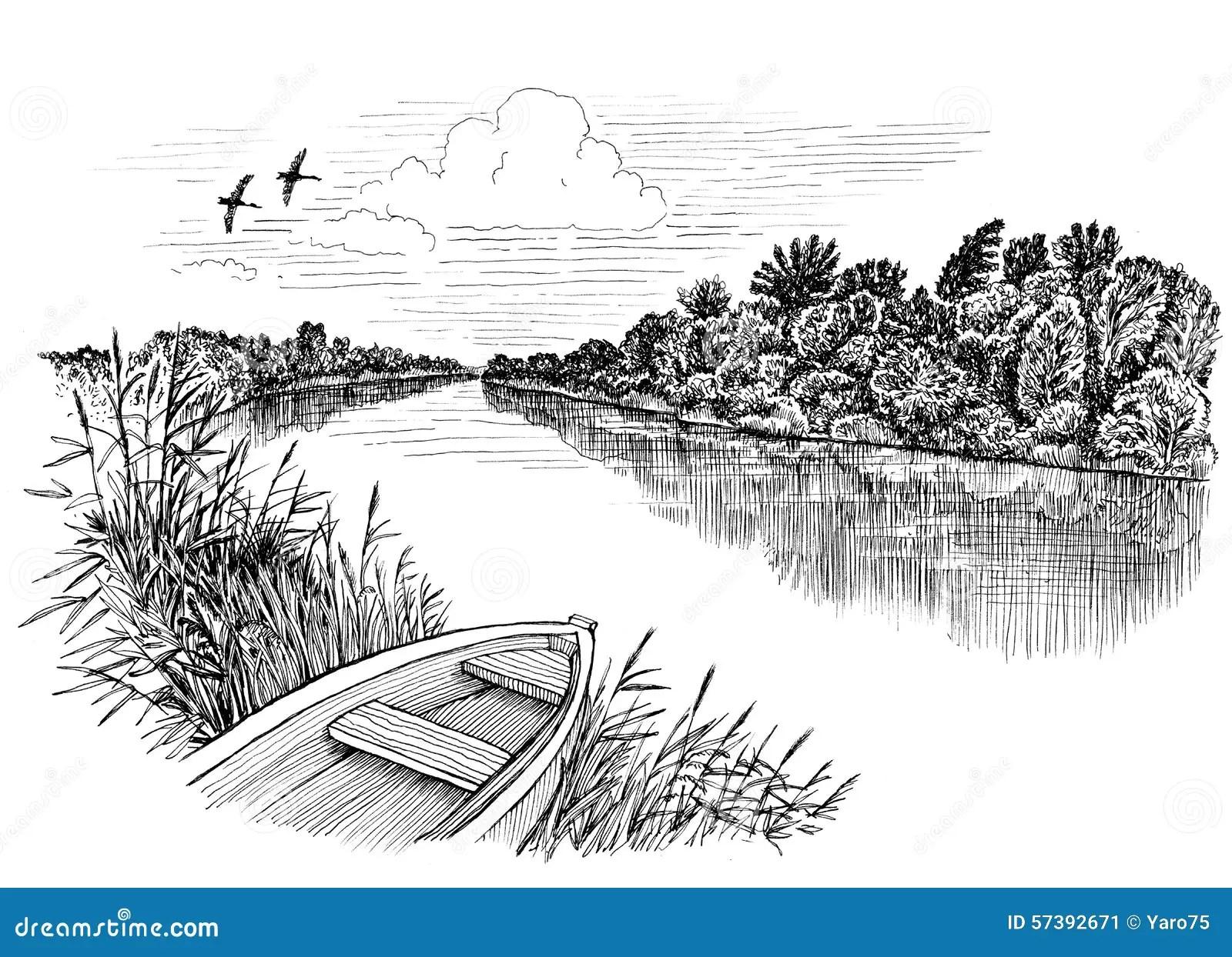 River Amp Boat Stock Illustration Illustration Of Paper