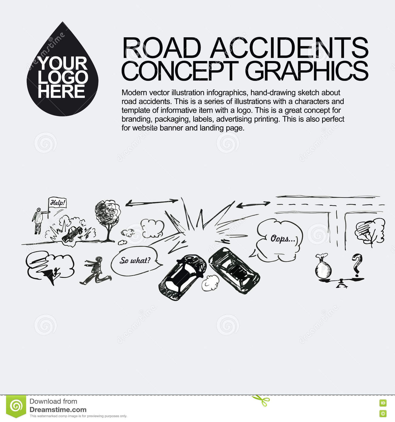 Road Accident The Car Crashed Incident Stock Photo