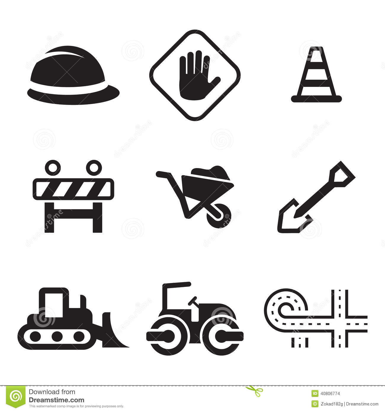 Road Construction Icons Stock Vector