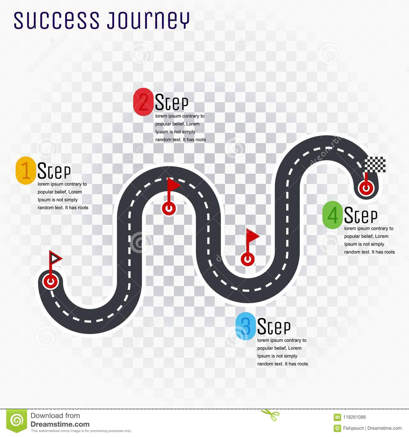 Road Infographic Timeline Element Layout Vector Cartoon