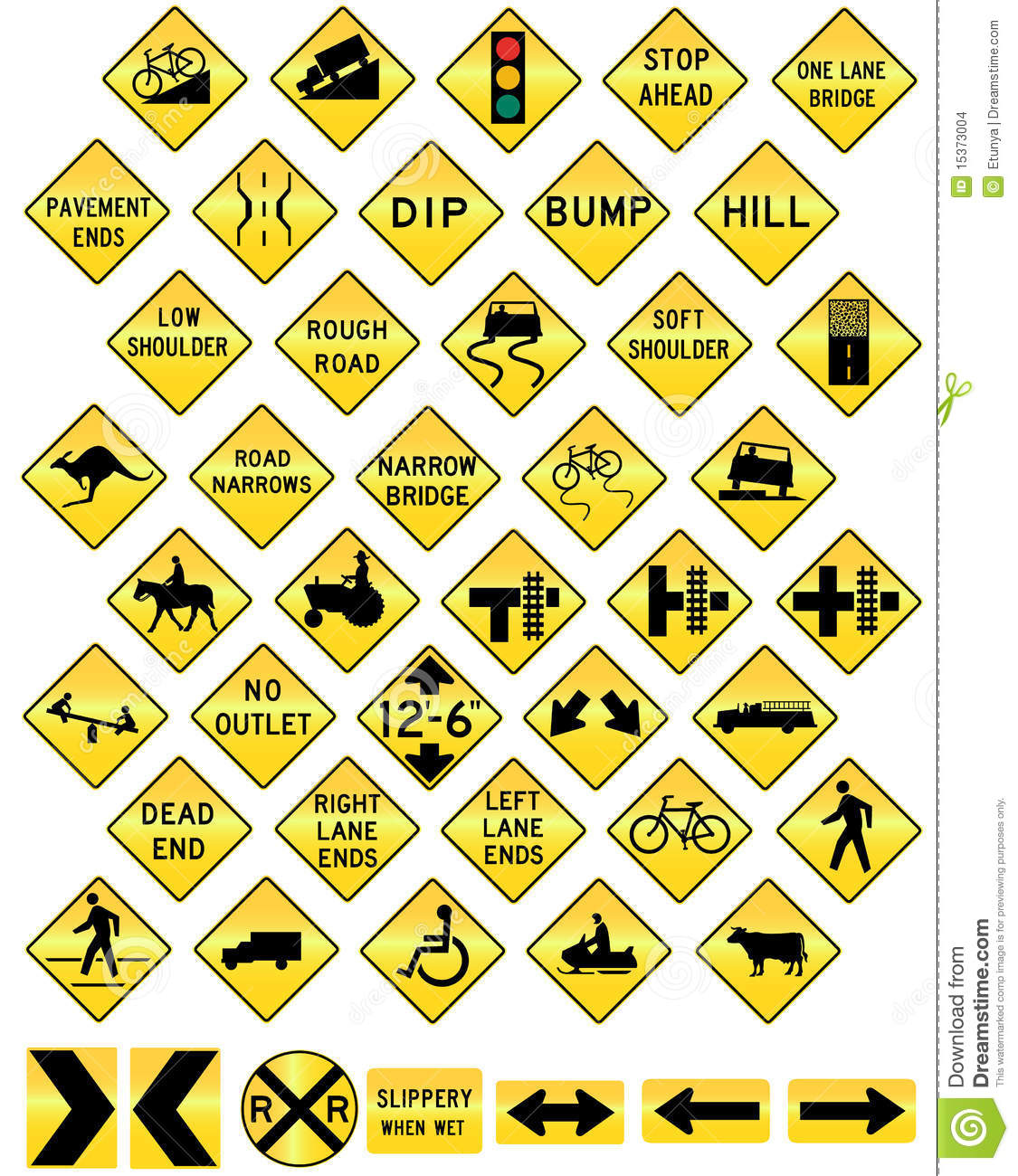 Road Sign Set Warning Stock Vector Illustration Of Sign