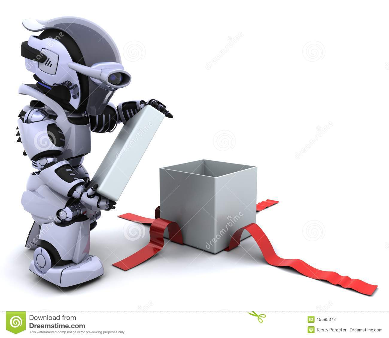 Robot Opening T Box With Bow Stock Photos