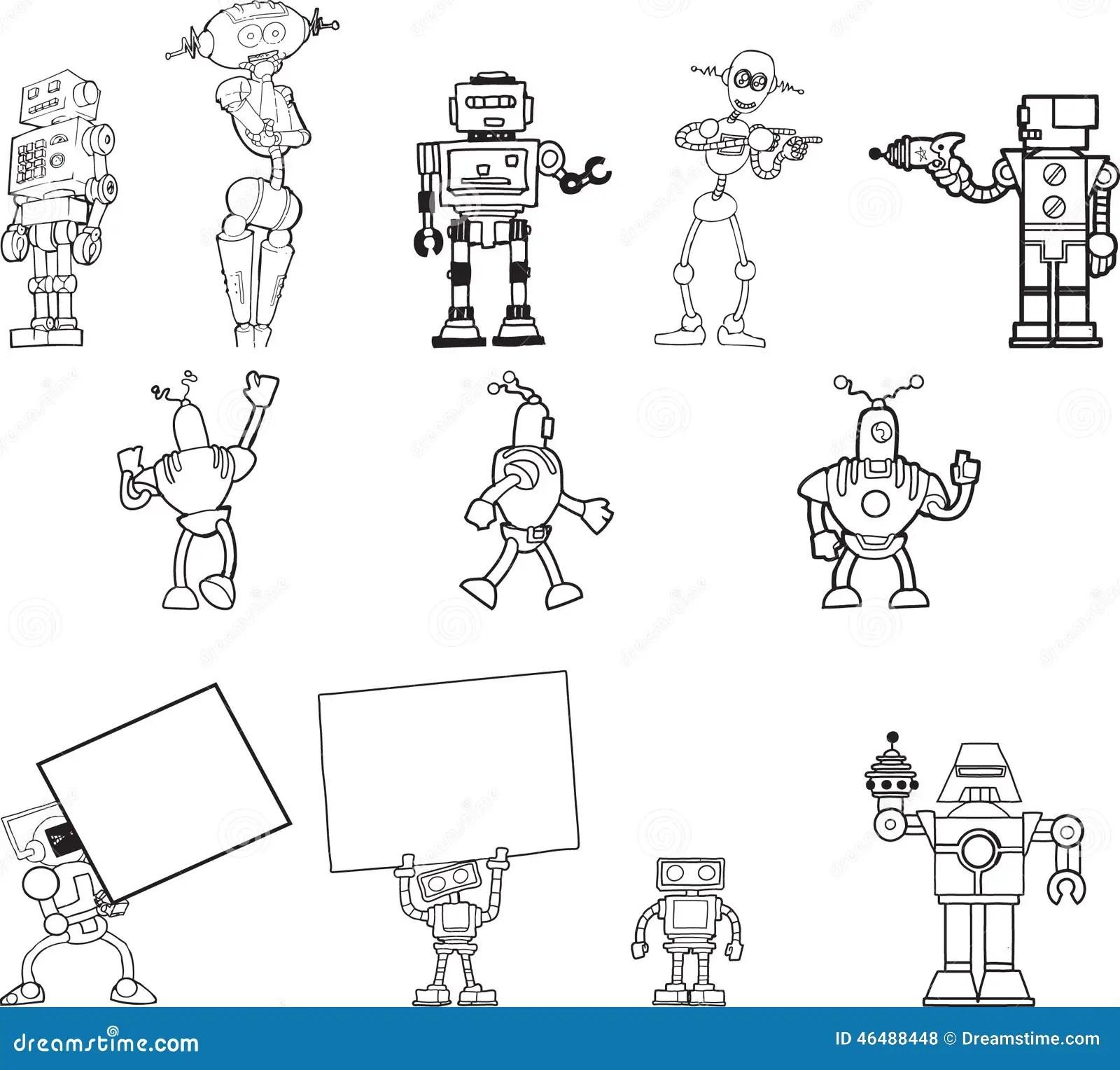 Roboter Hand Gezeichneter Clipart Satz Von 12 Vektor